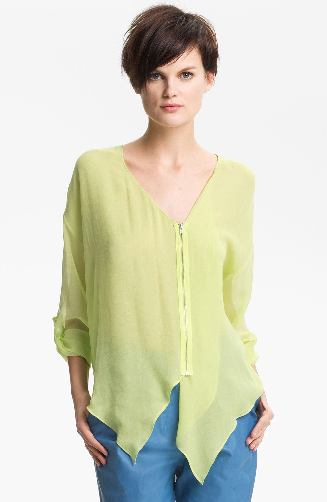 Alternate Image 1 Selected - Tracy Reese Zip Front Silk Shirt