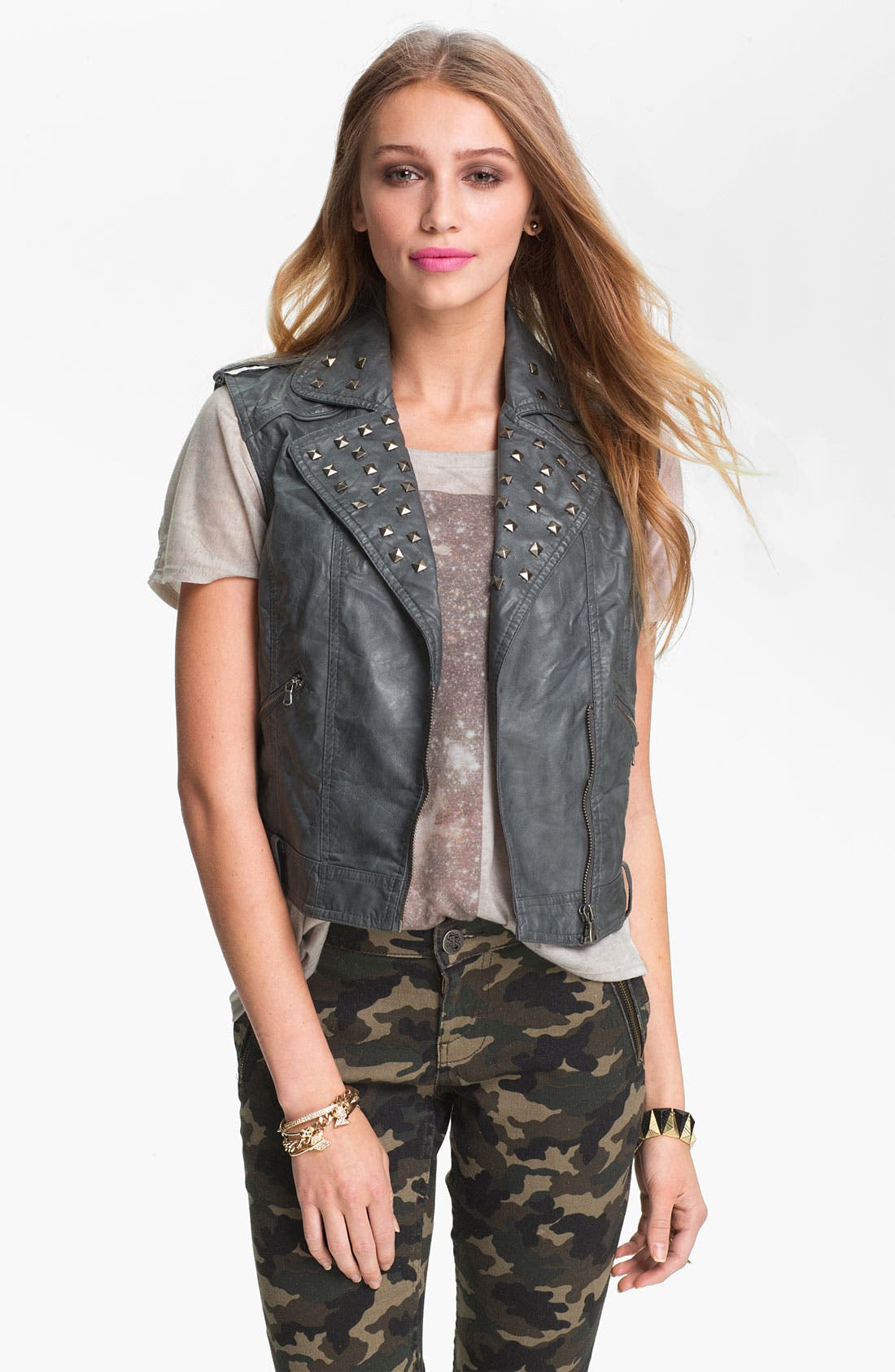 Alternate Image 1 Selected - Collection B Studded Faux Leather Biker Vest (Juniors)