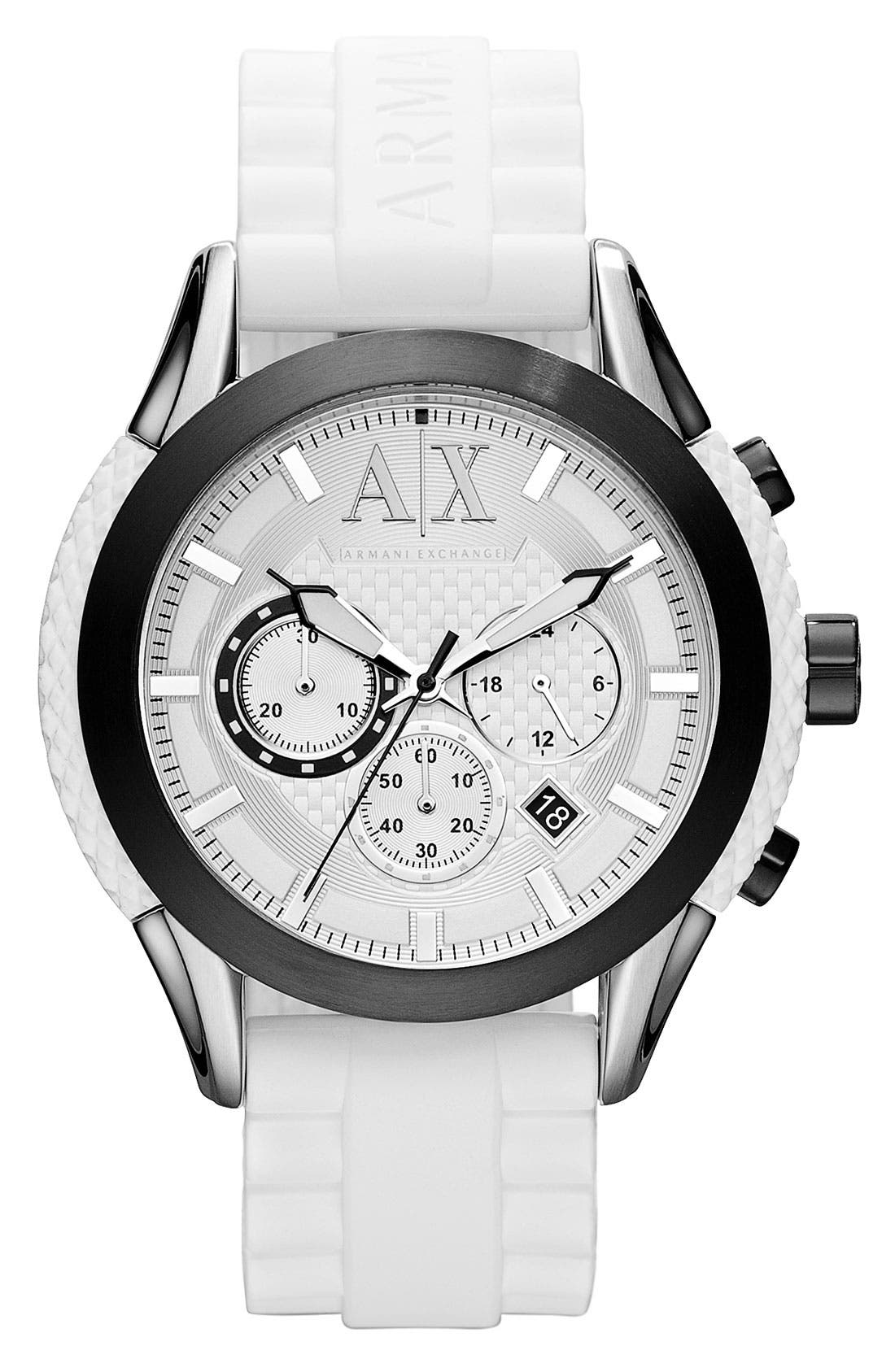 Main Image - AX Armani Exchange Round Silicone Strap Watch, 47mm