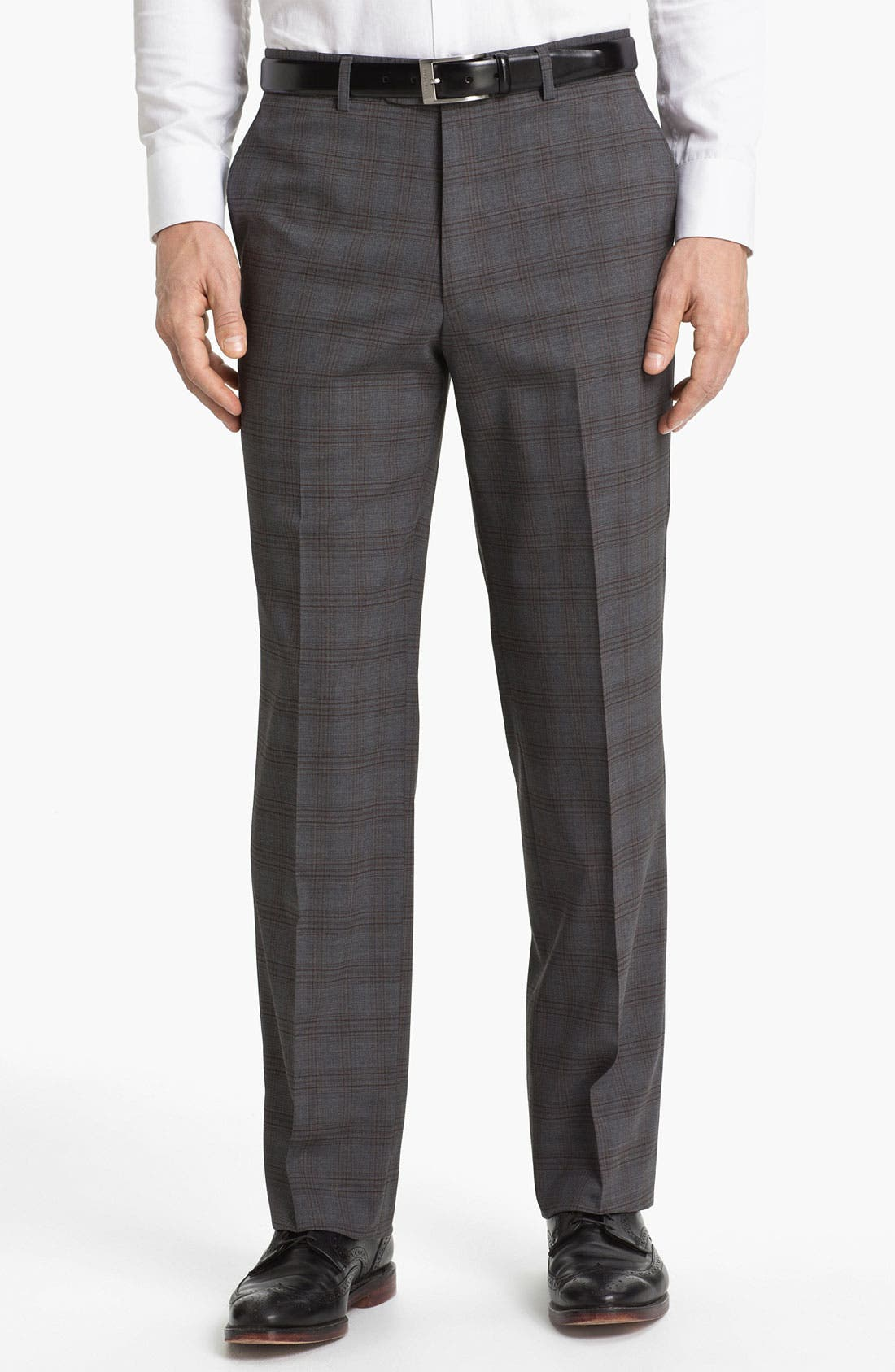 Alternate Image 1 Selected - Linea Naturale 'Hammertime Plaid' Flat Front Wool Trousers