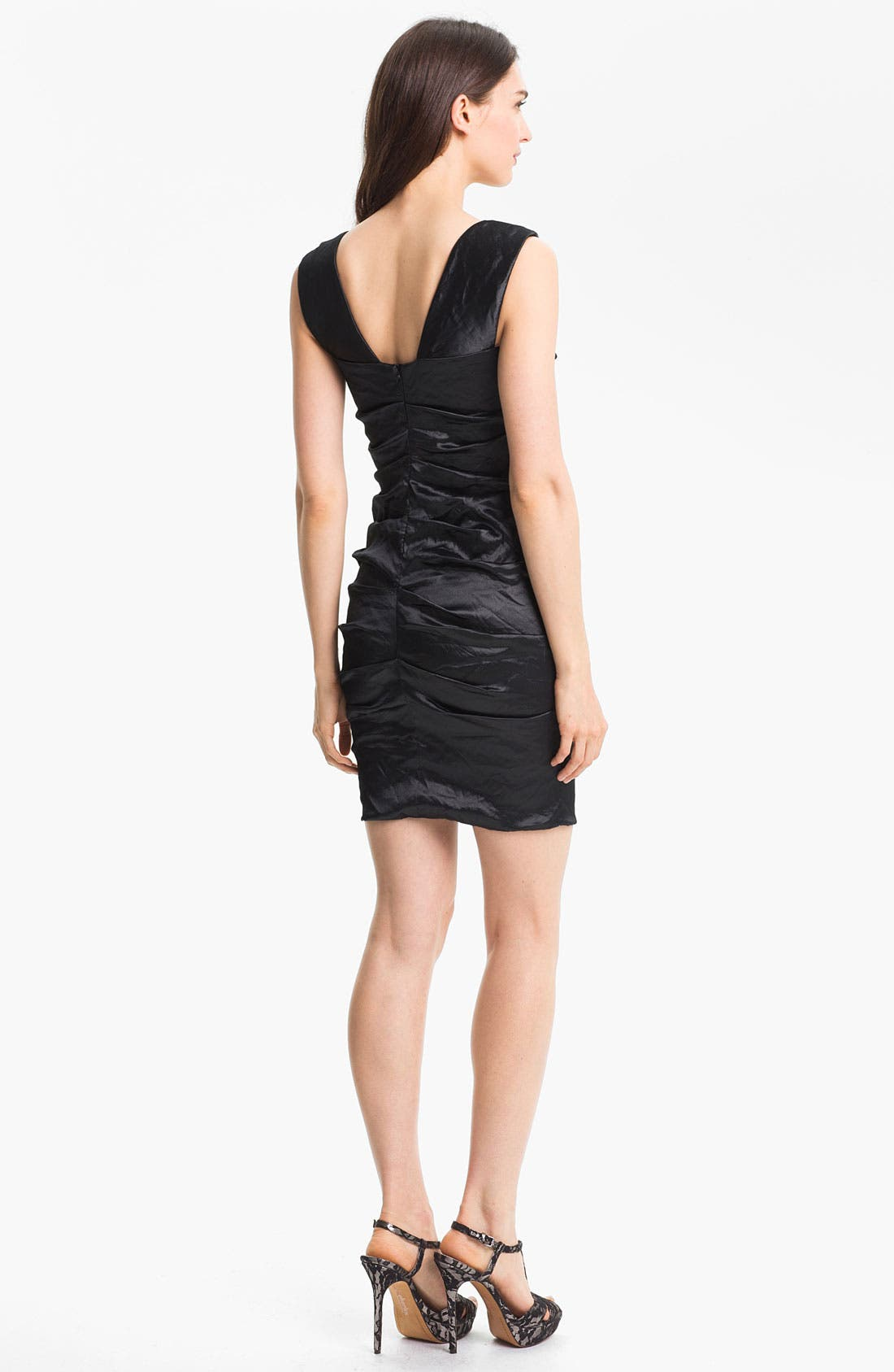 Alternate Image 2  - Nicole Miller Techno Metal Faille Sheath Dress