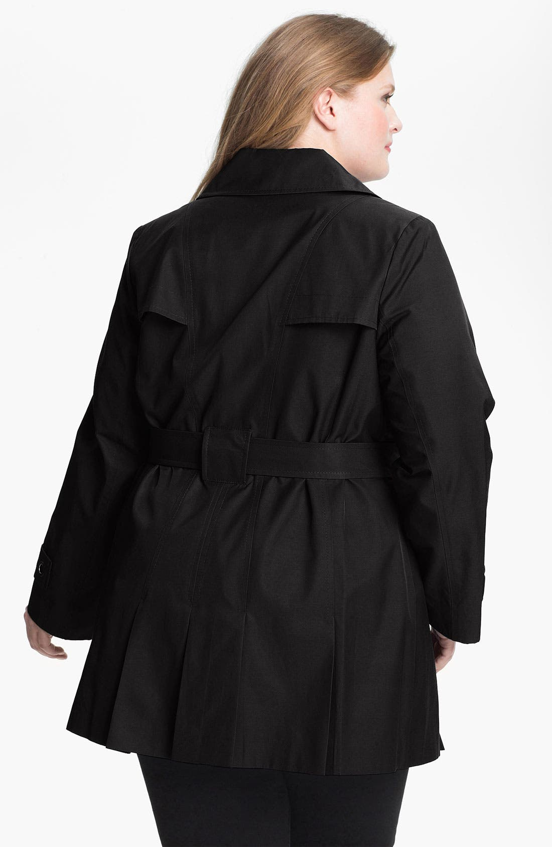 Alternate Image 2  - Via Spiga Pleated Trench Coat (Plus Size)