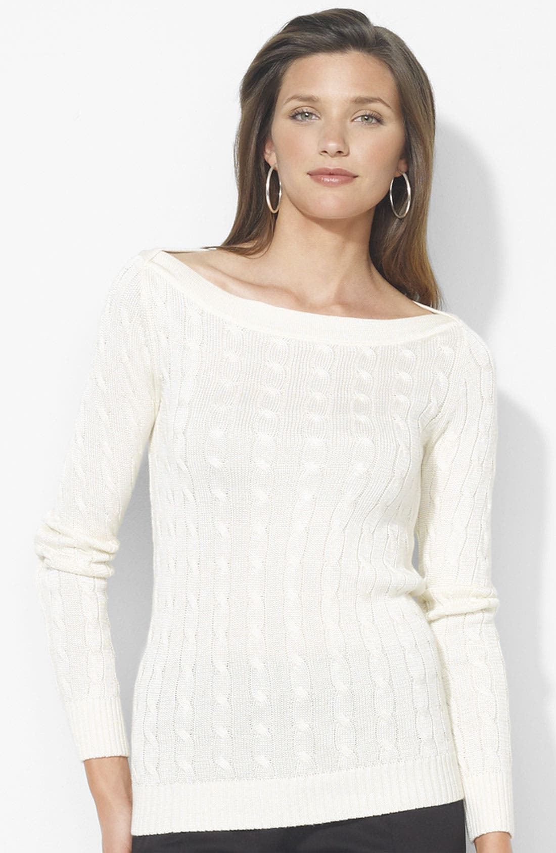 Main Image - Lauren Ralph Lauren Bateau Neck Cable Sweater