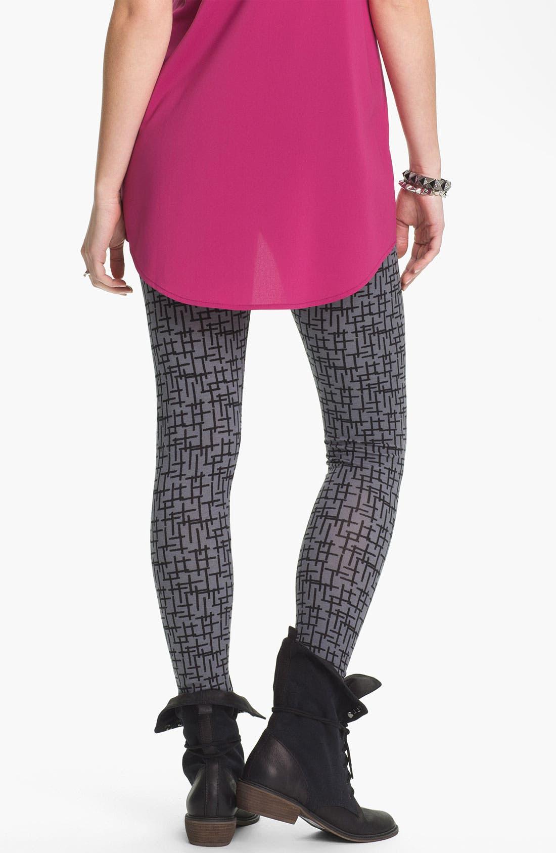Alternate Image 2  - Mimi Chica Cross Print Leggings (Juniors)