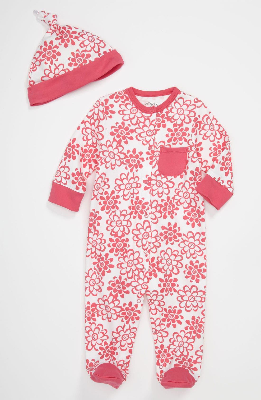 Main Image - Offspring 'Flower' Footie & Hat (Baby)