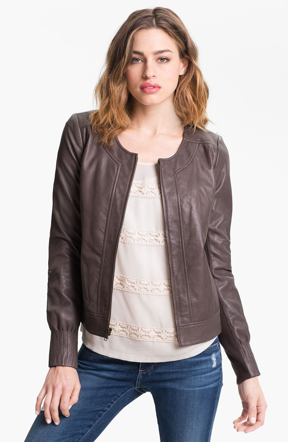 Main Image - Trouvé Pleat Detail Leather Jacket