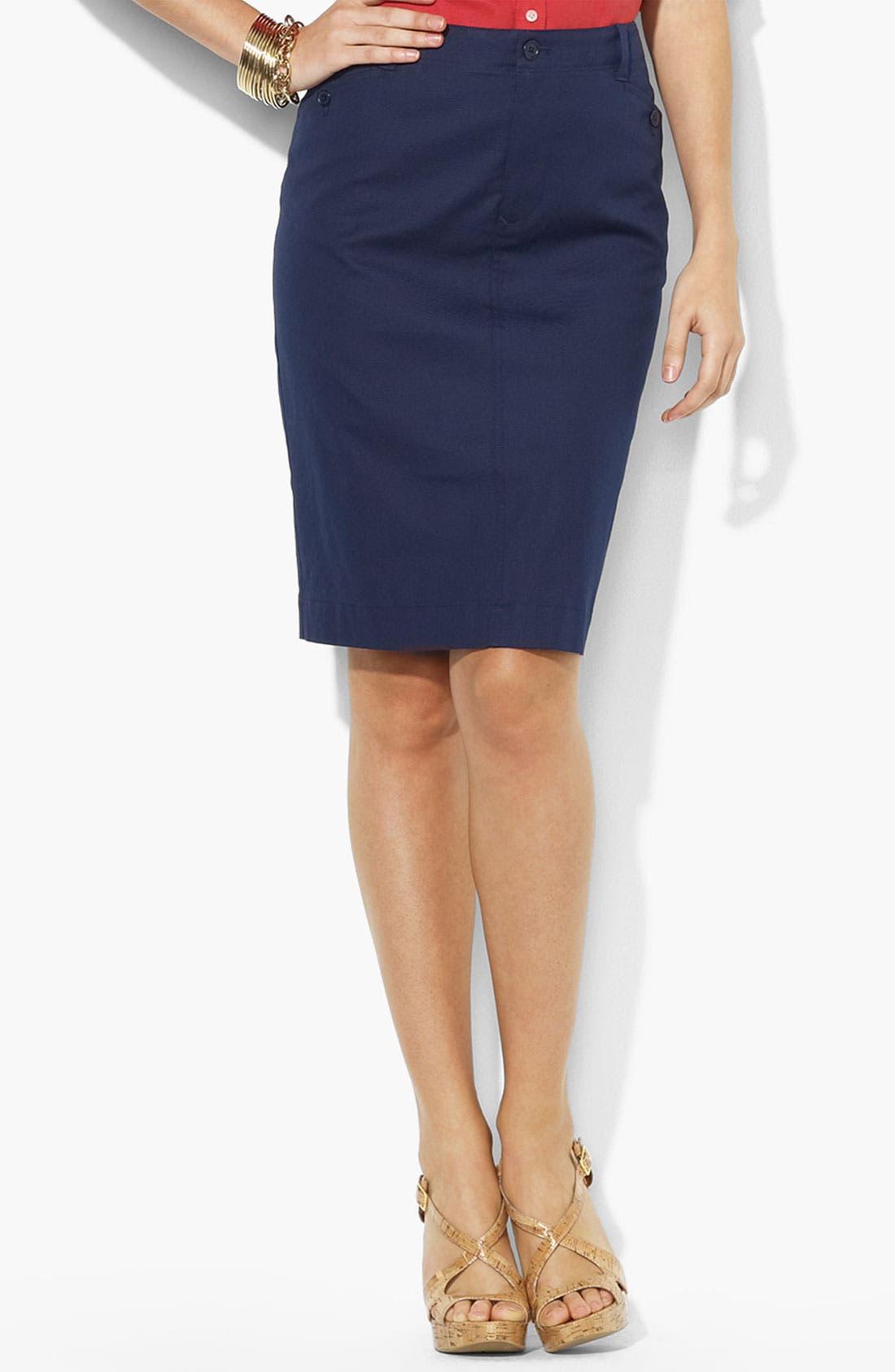 Main Image - Lauren Ralph Lauren Buckle Back Straight Skirt (Petite) (Online Only)