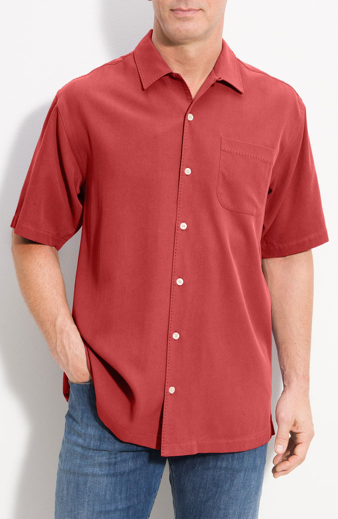Alternate Image 1 Selected - Tommy Bahama 'Catalina Twill' Original Fit Silk Camp Shirt