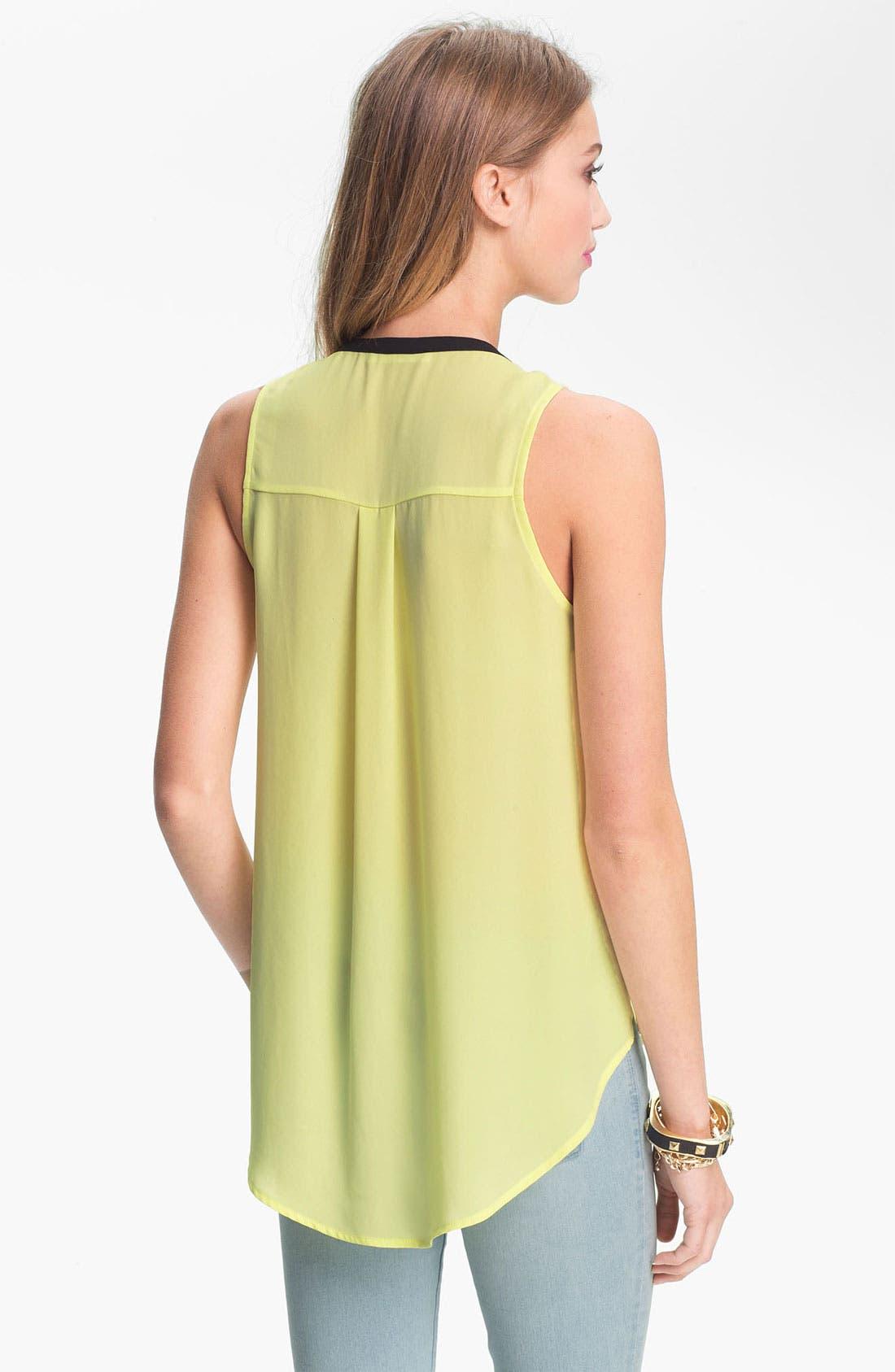 Alternate Image 2  - Lush Contrast Trim Sleeveless Chiffon Shirt (Juniors)