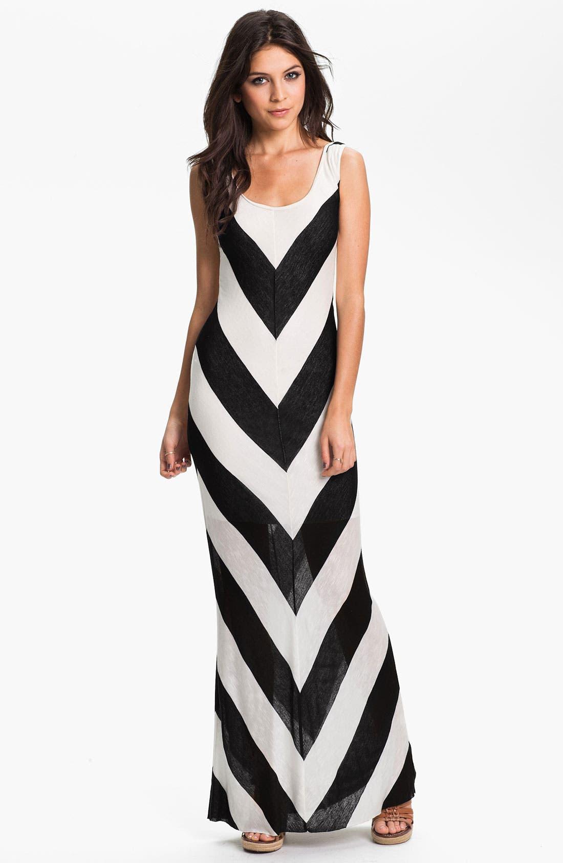 Main Image - Hidden Heart Chevron Stripe Maxi Dress (Juniors)