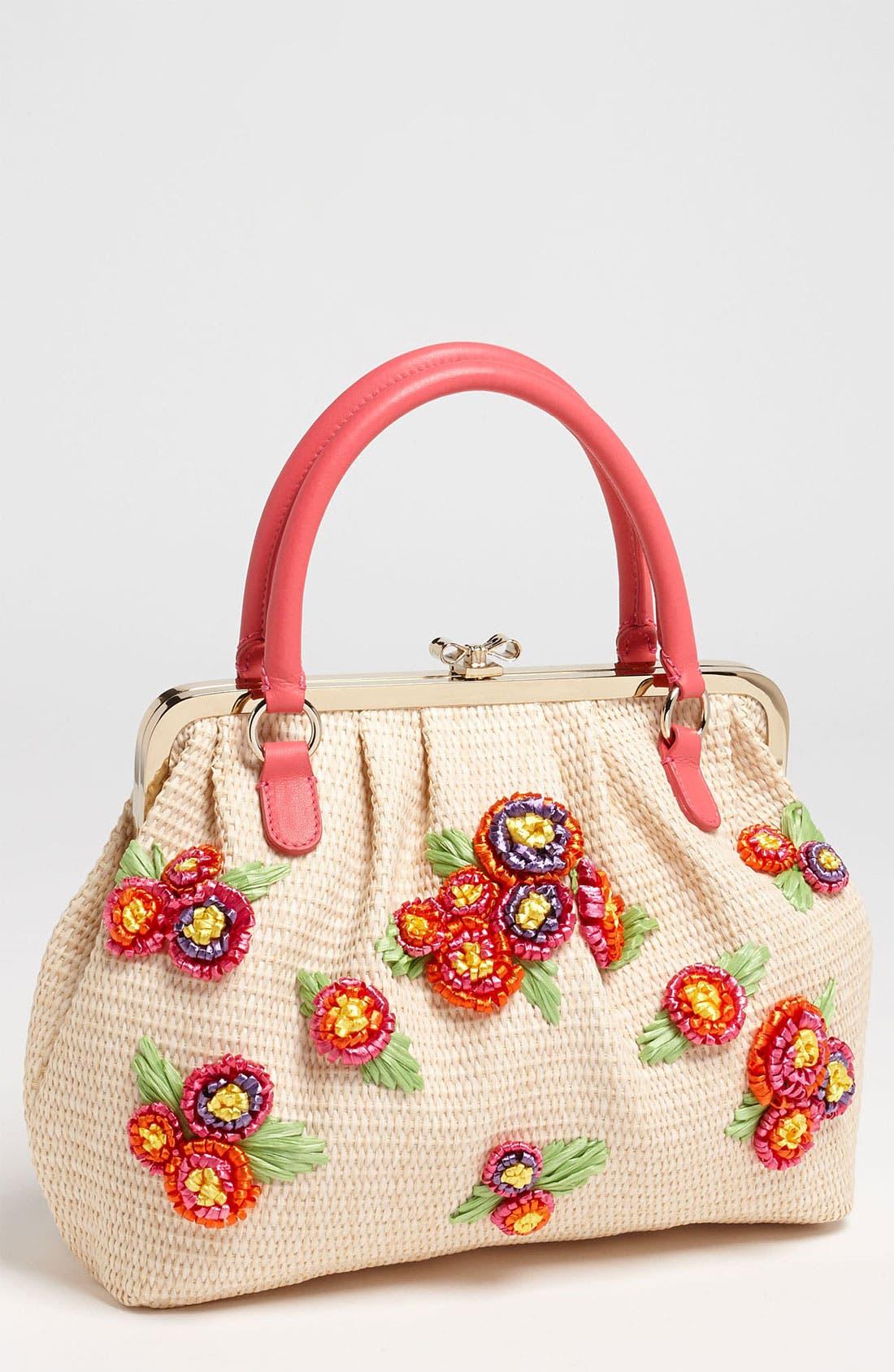 Alternate Image 1 Selected - RED Valentino Embroidered Floral Raffia Handbag