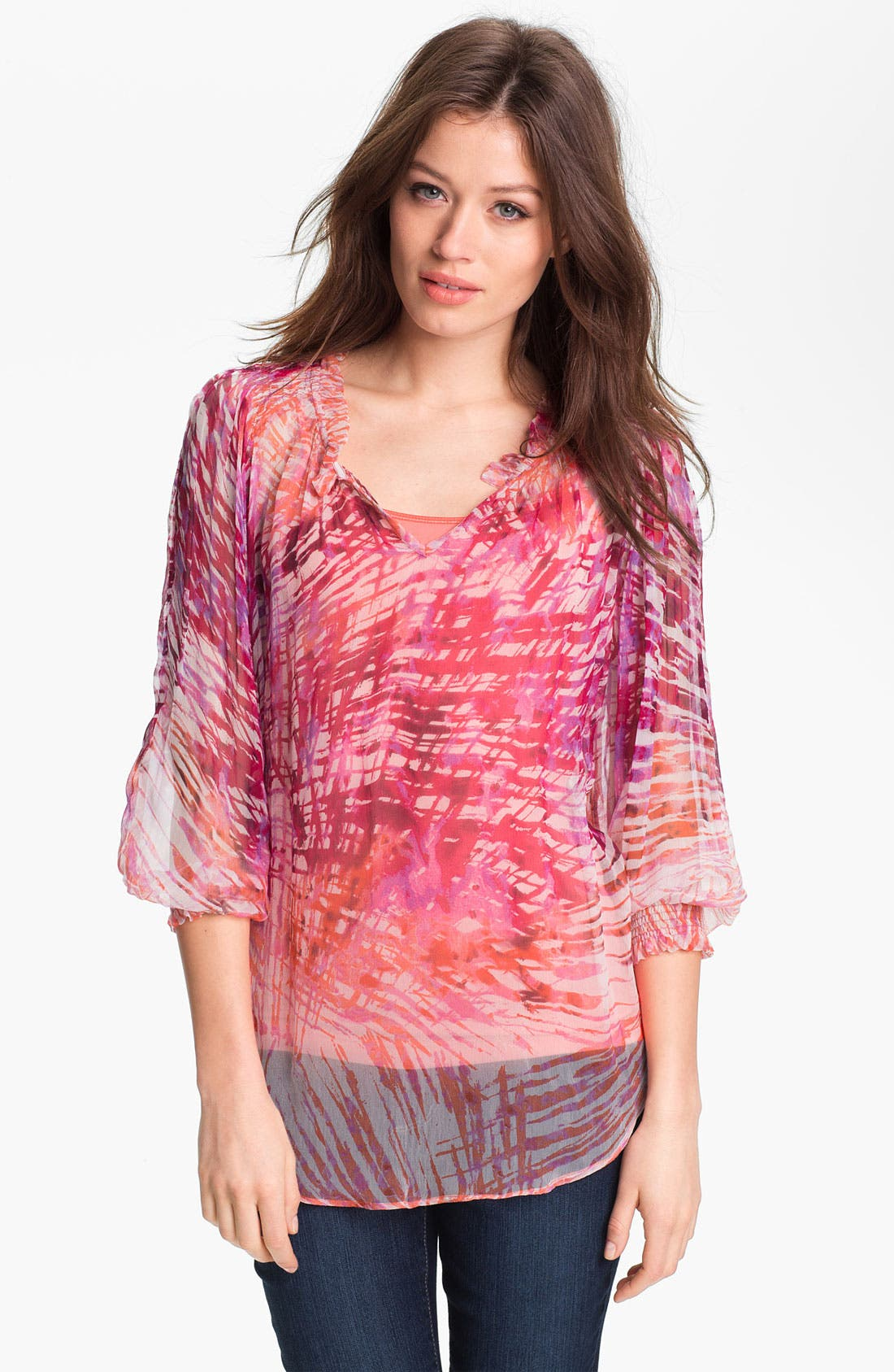 Alternate Image 1 Selected - Casual Studio Sheer Print Blouse