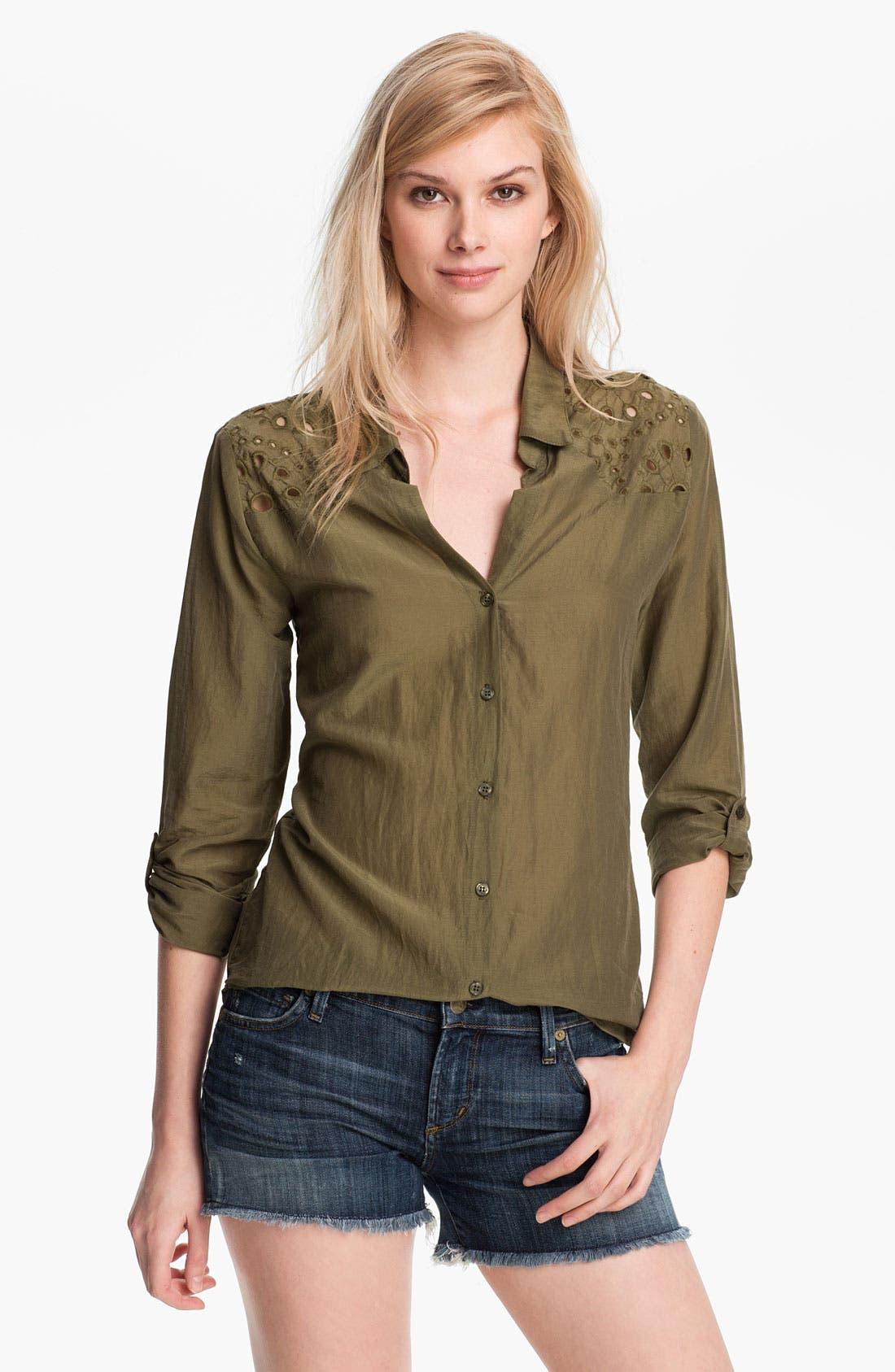 Alternate Image 1 Selected - Ella Moss 'Heidi' Eyelet Lace Trim Shirt