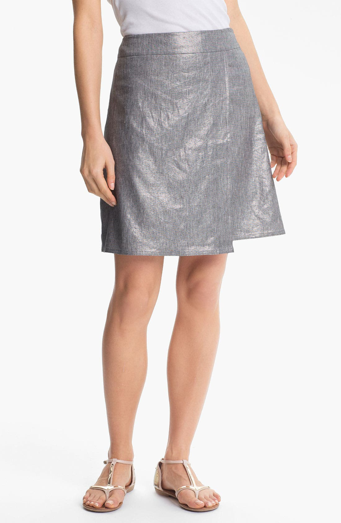 Alternate Image 1 Selected - Eileen Fisher Stretch Linen Blend Wrap Skirt