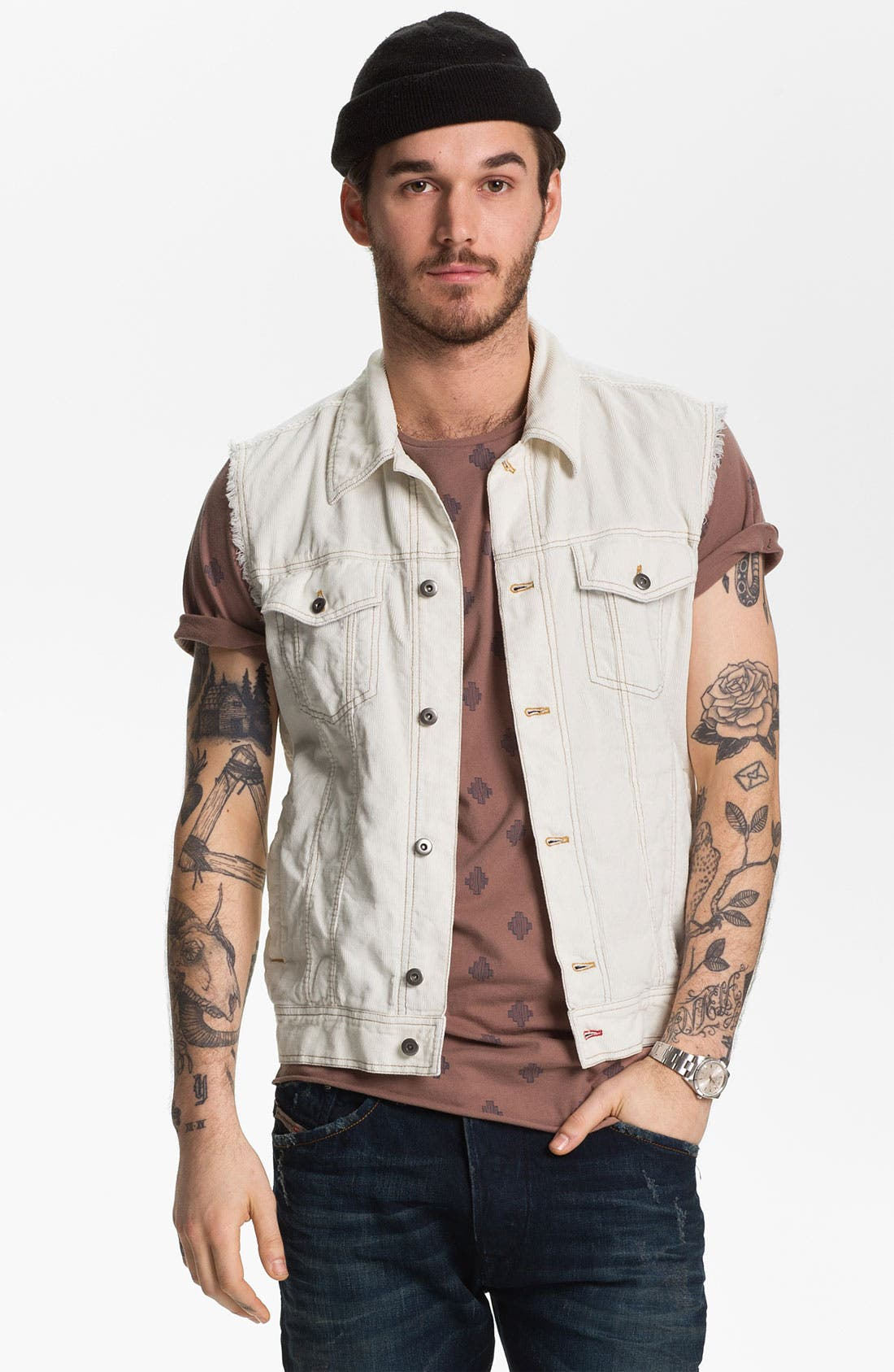 Main Image - Vintage Red Cutoff Corduroy Vest