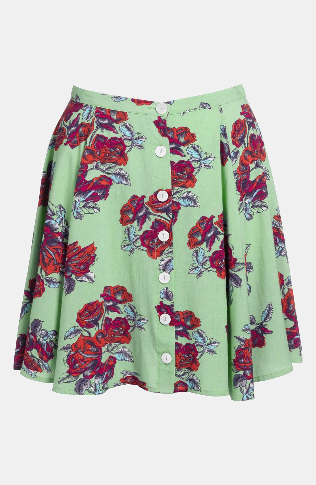 Alternate Image 1 Selected - MINKPINK High Waist Print Skater Skirt