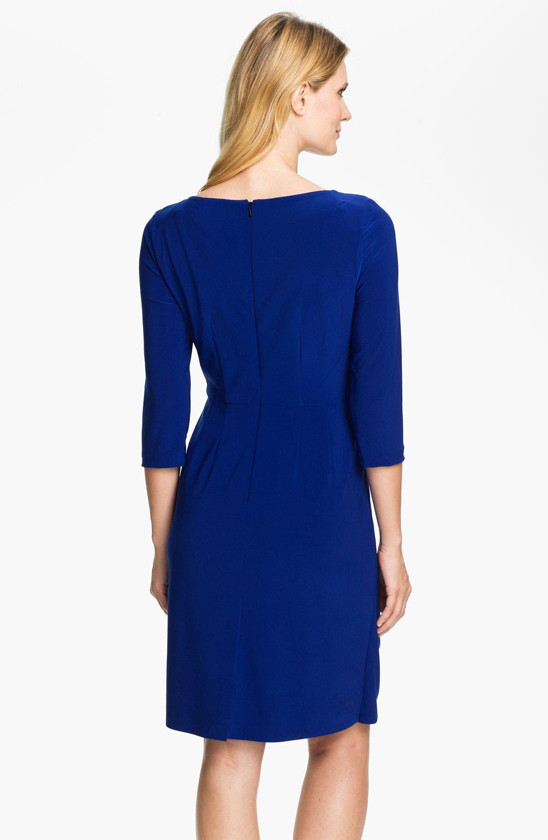 Alternate Image 2  - Adrianna Papell Side Drape Surplice Dress (Petite)