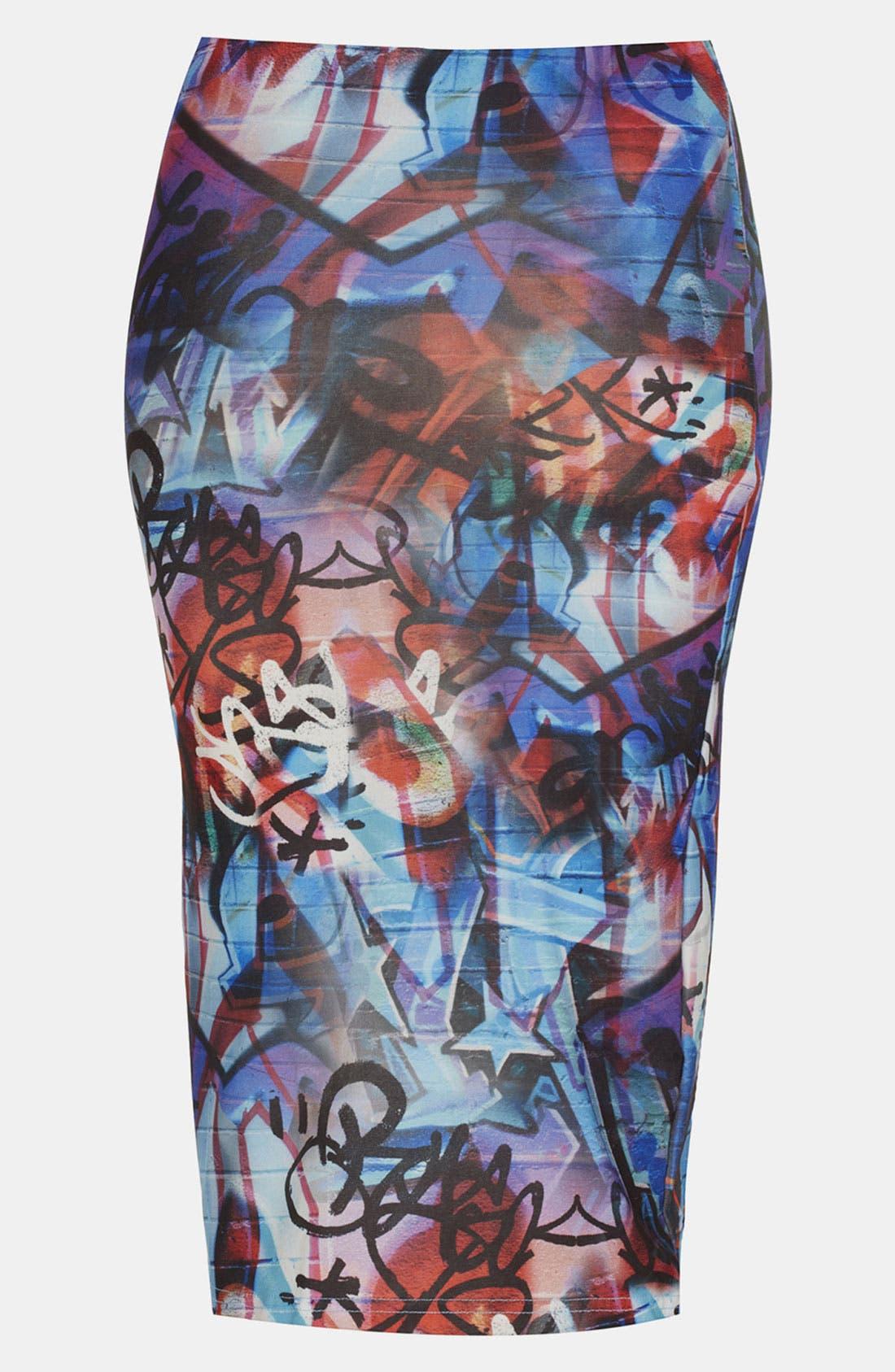 Alternate Image 2  - Topshop 'Graffiti' Print Midi Skirt
