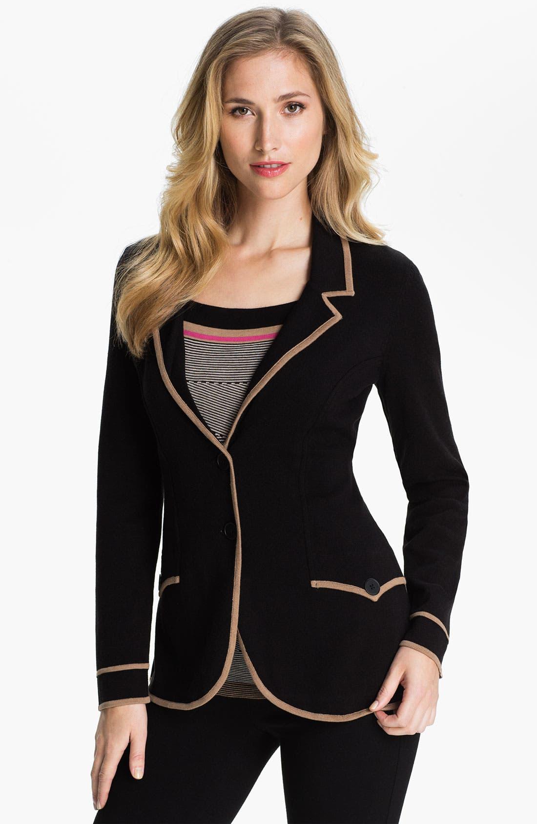 Alternate Image 1 Selected - Nic + Zoe Tipped Sweater Jacket (Petite)