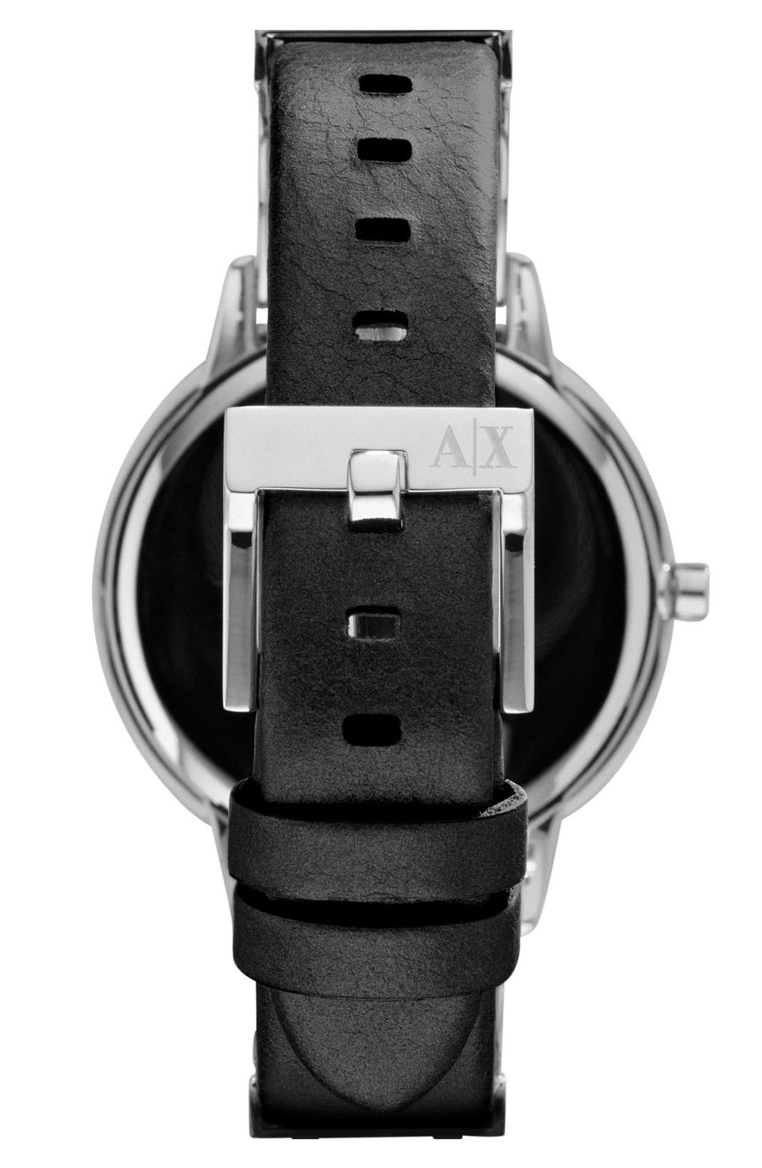 Alternate Image 2  - AX Armani Exchange Leather Strap Watch, 38mm (Online Only)