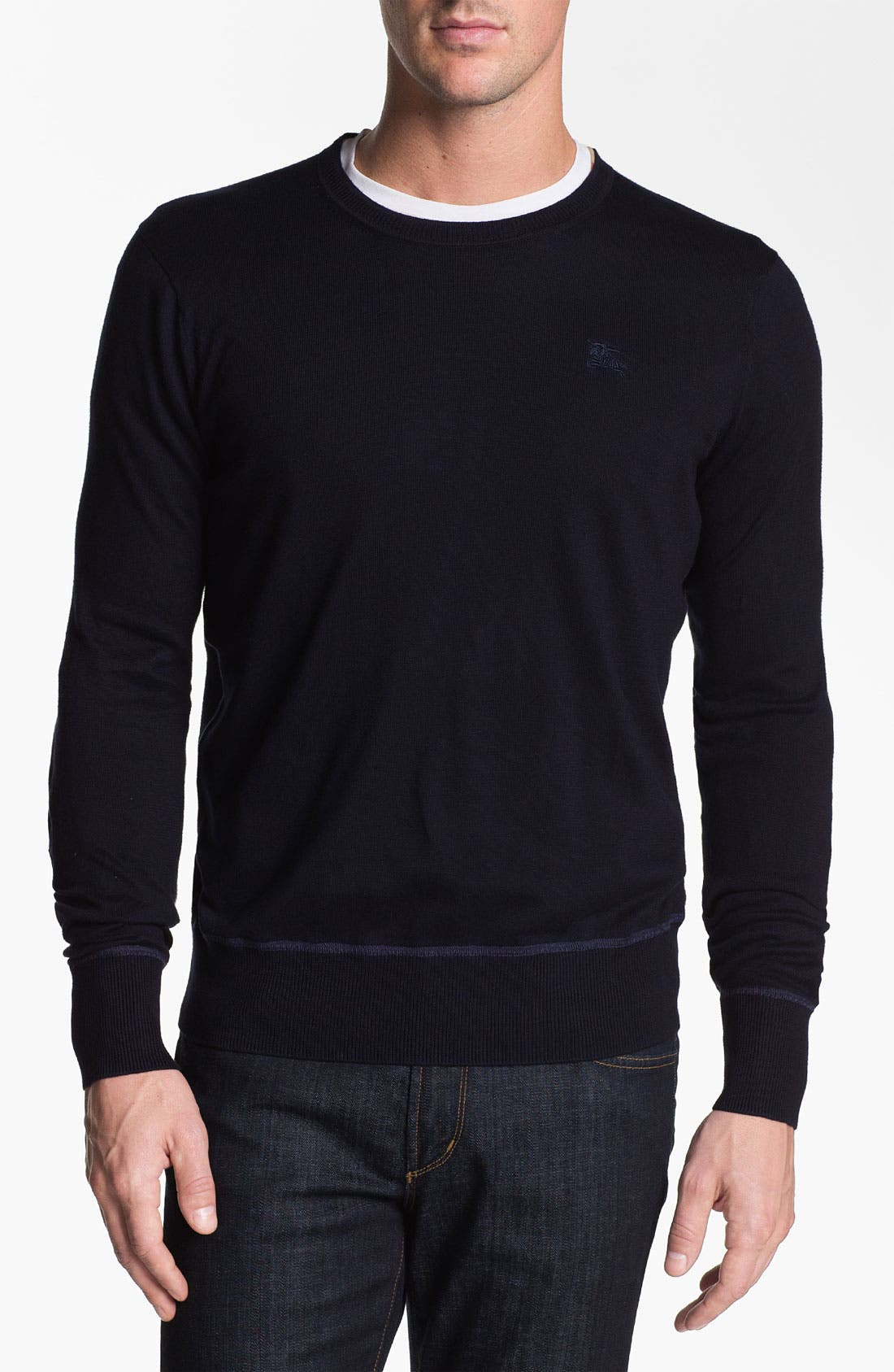 Alternate Image 1 Selected - Burberry Brit Elbow Patch Cotton Sweater