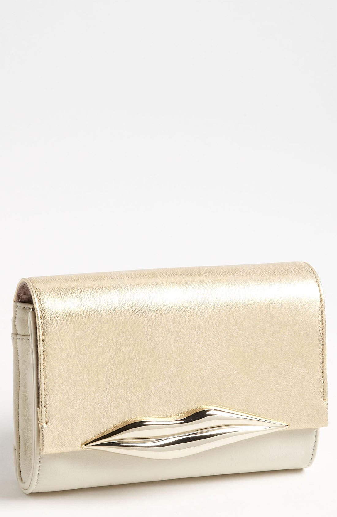 Alternate Image 1 Selected - Diane von Furstenberg 'Lips - Mini' Metallic Leather Clutch