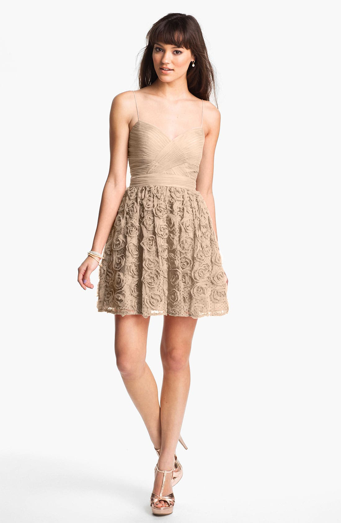 Main Image - Hailey Logan Rosette Party Dress (Juniors) (Online Only)