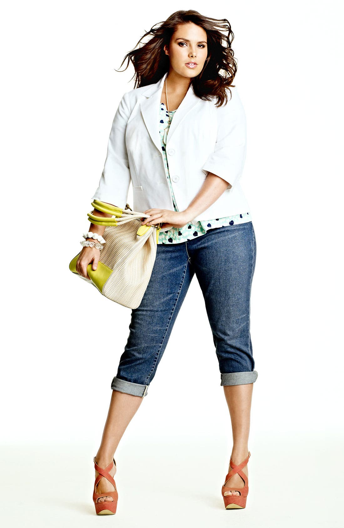 Alternate Image 4  - Two by Vince Camuto Heart Print Tee (Plus)