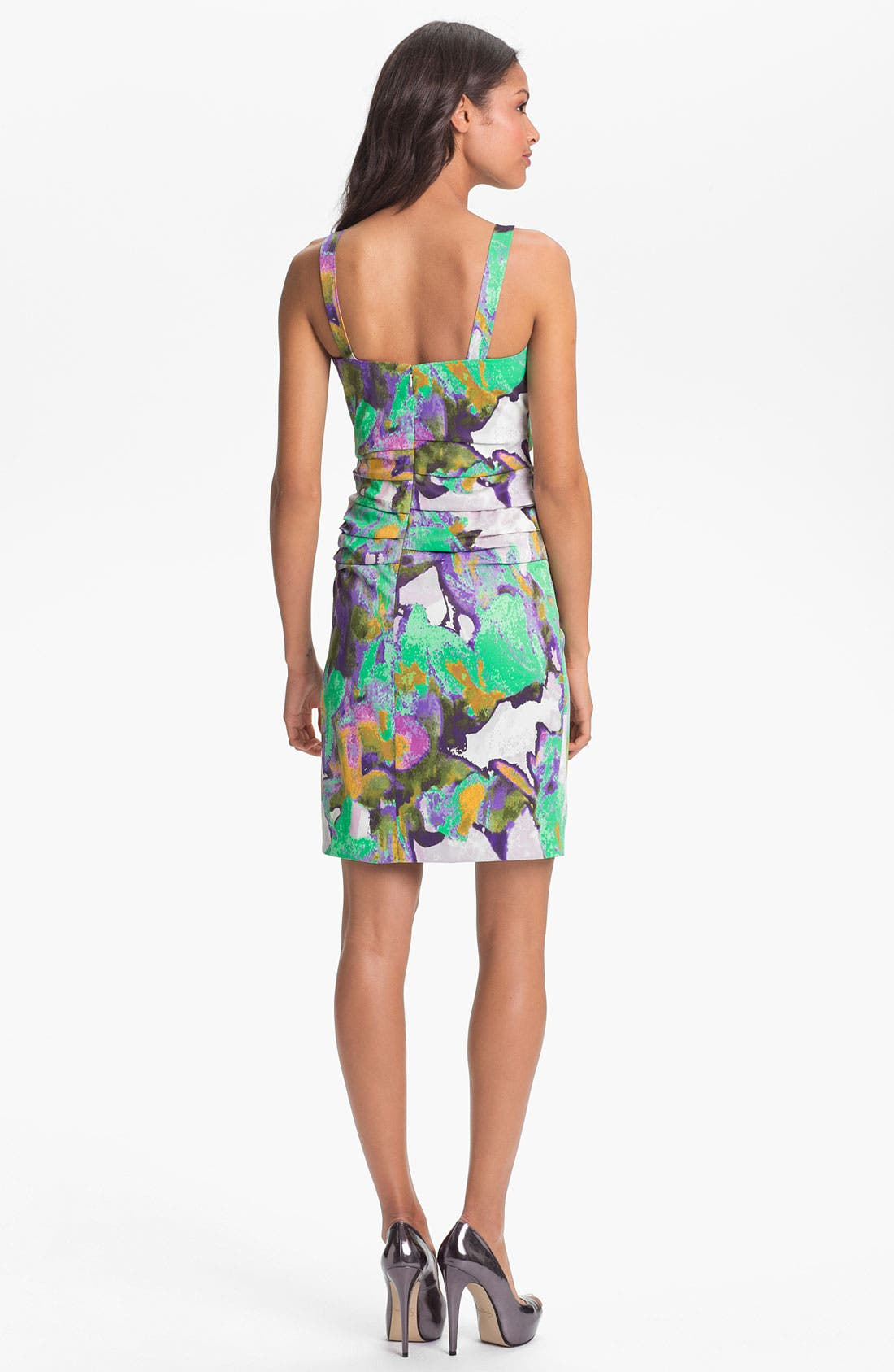 Alternate Image 2  - Suzi Chin for Maggy Boutique Ruched Print Sheath Dress