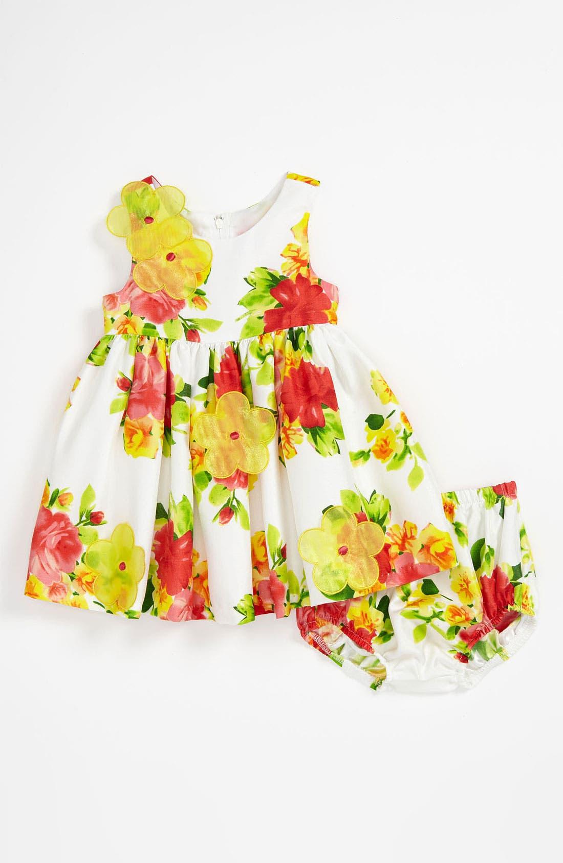 Alternate Image 1 Selected - Iris & Ivy Floral Shantung Dress & Bloomers (Baby Girls)