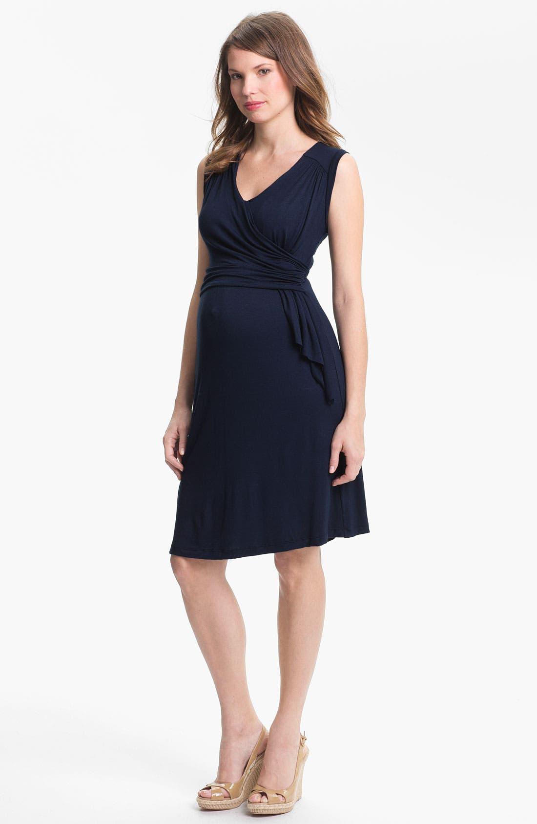 Main Image - Japanese Weekend Draped Sleeveless Jersey Maternity Dress