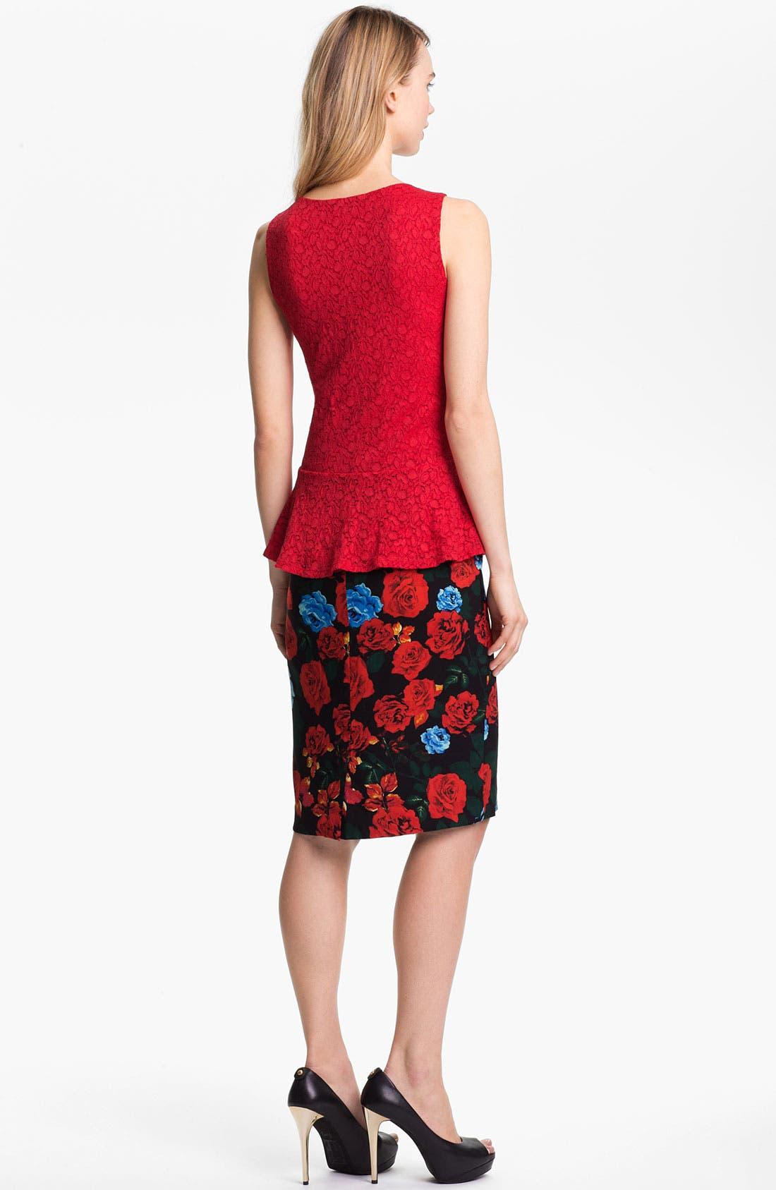 Alternate Image 5  - Vince Camuto Rose Print Pencil Skirt