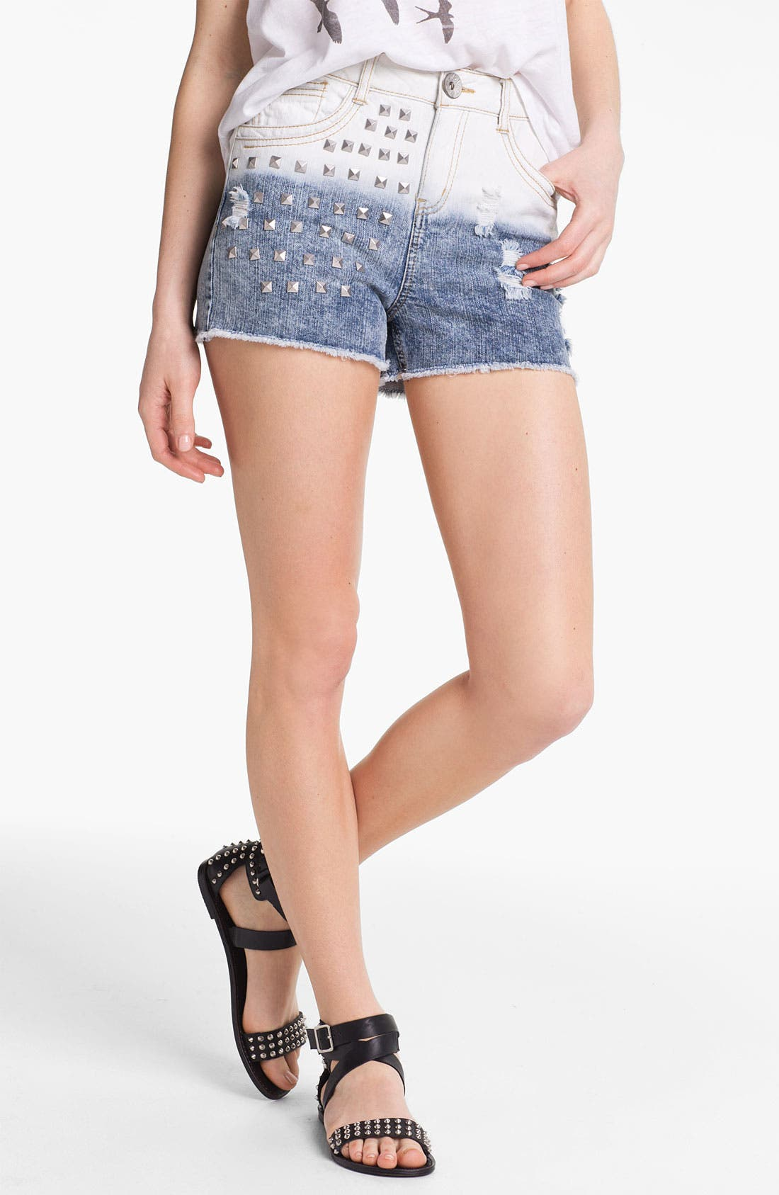 Main Image - Jolt Stud Dip Dye High Waist Denim Shorts (Juniors)