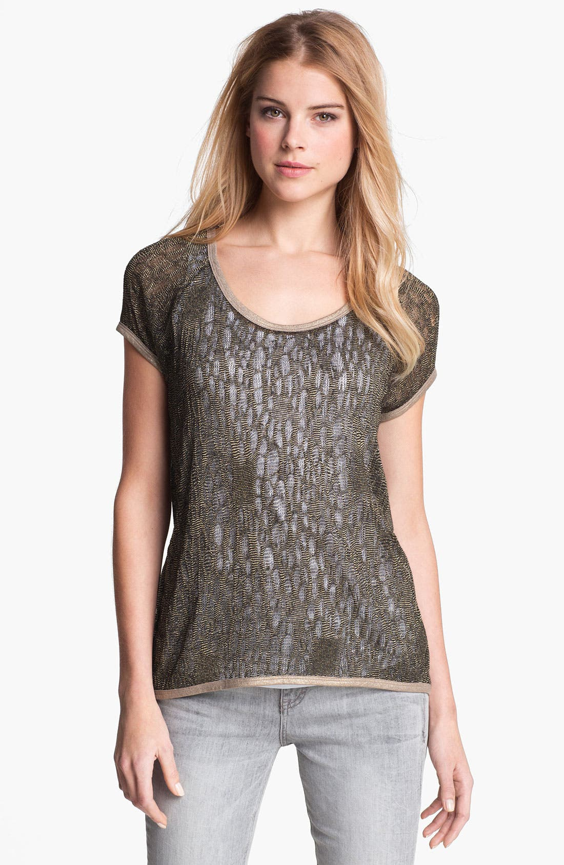 Main Image - Two by Vince Camuto Metallic Open Knit Tee