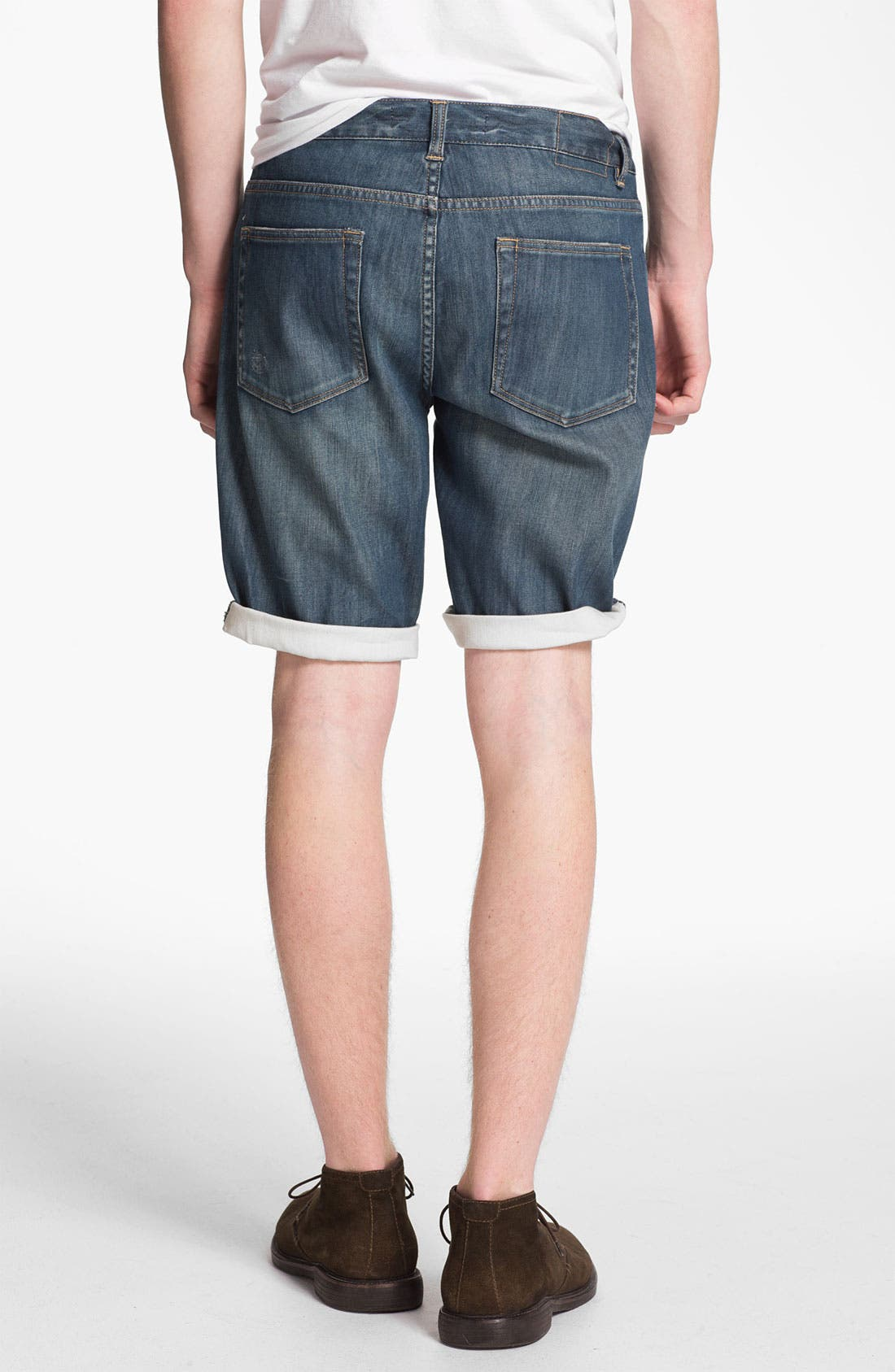 Alternate Image 4  - Topman Washed Denim Shorts