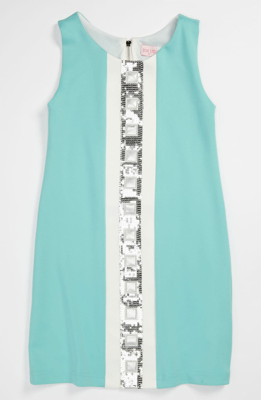 Main Image - Zoe 'Mod' Sequin Squares Sleeveless Dress (Big Girls)