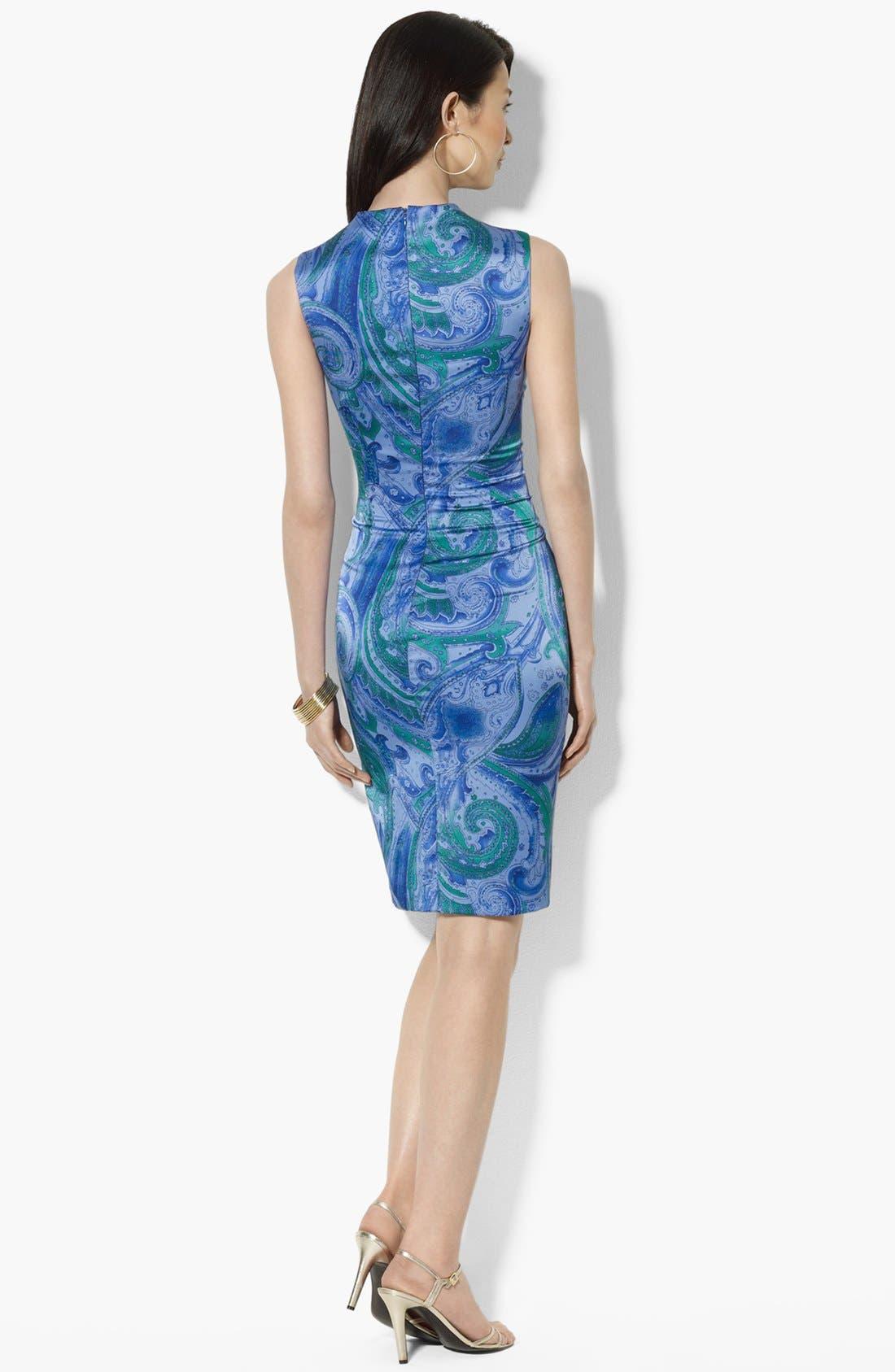 Alternate Image 2  - Lauren Ralph Lauren Print Satin Sheath Dress