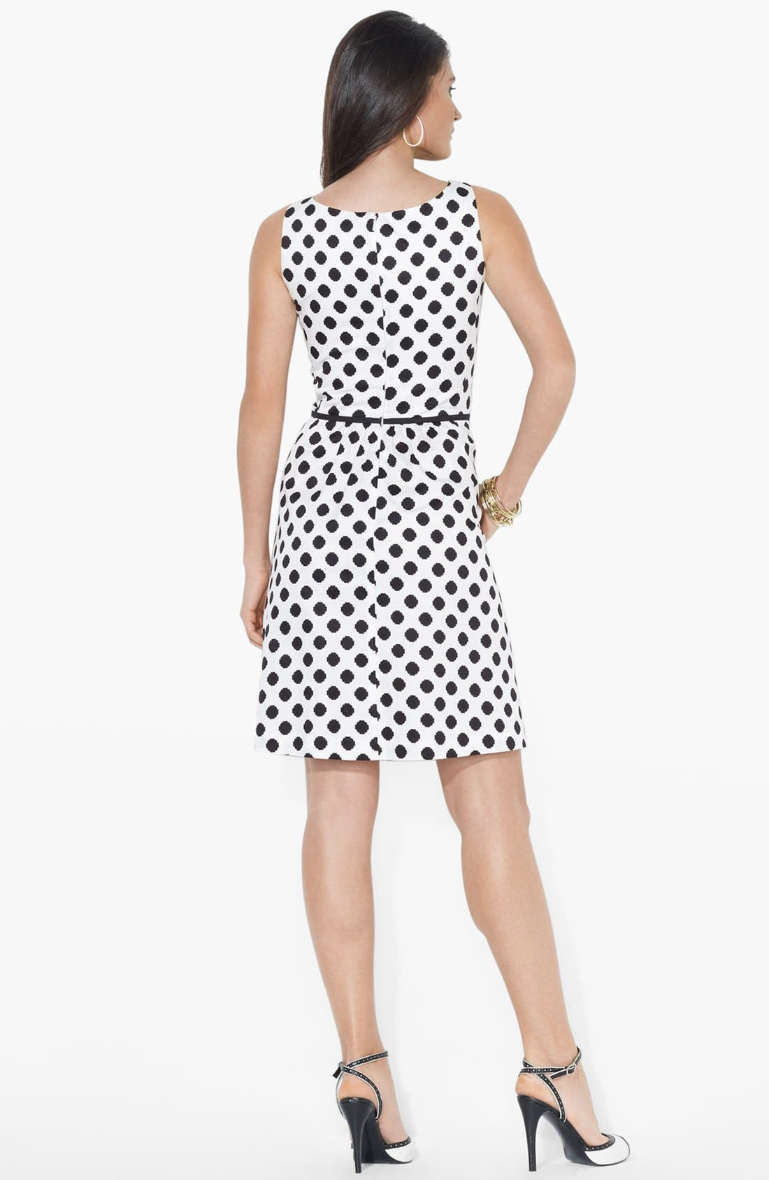 Alternate Image 2  - Lauren Ralph Lauren Polka Dot Fit & Flare Dress