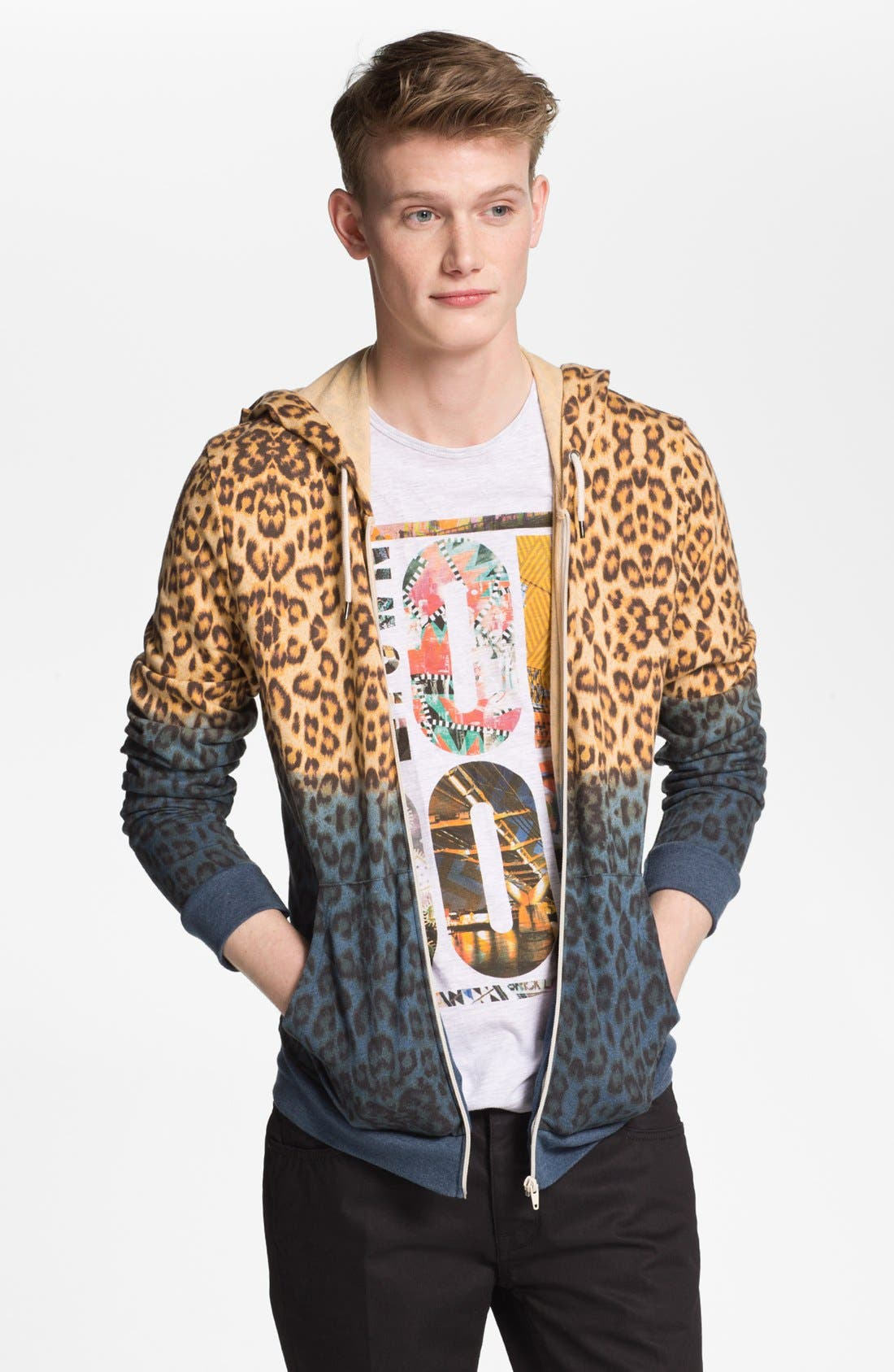 Alternate Image 1 Selected - Topman Dip Dye Leopard Print Zip Hoodie