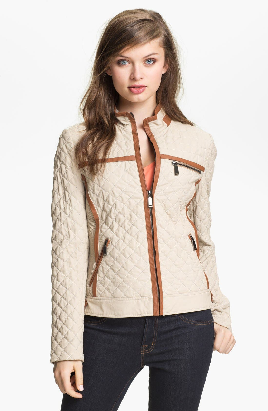 Main Image - Via Spiga Faux Leather Trim Quilted Jacket (Online Only)