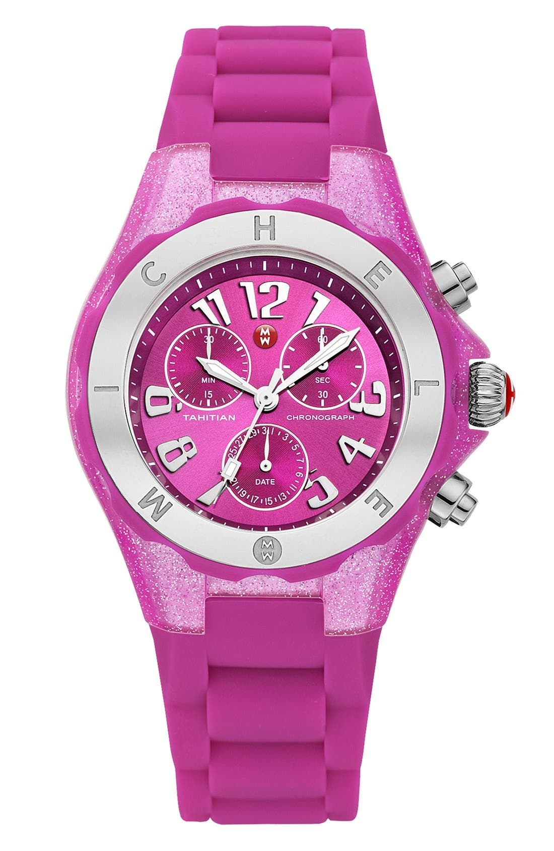 Main Image - MICHELE 'Tahitian Jelly Bean' Glitter Watch, 40mm