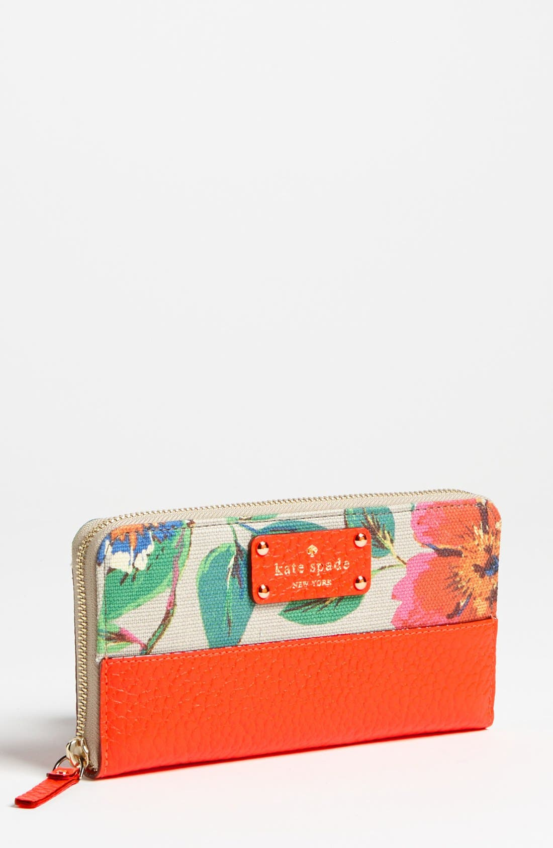 Main Image - kate spade new york 'grove court floral - lacey' zip around wallet