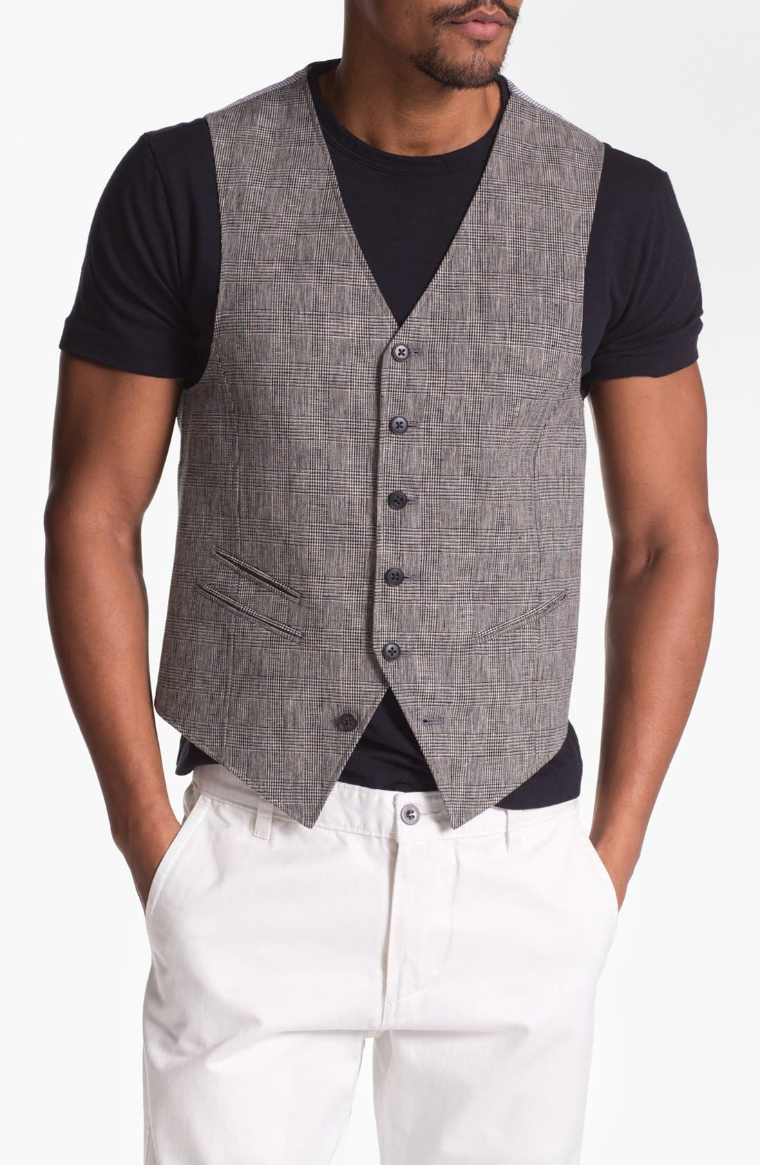 Alternate Image 1 Selected - John Varvatos Star USA Red Label Glen Plaid Vest
