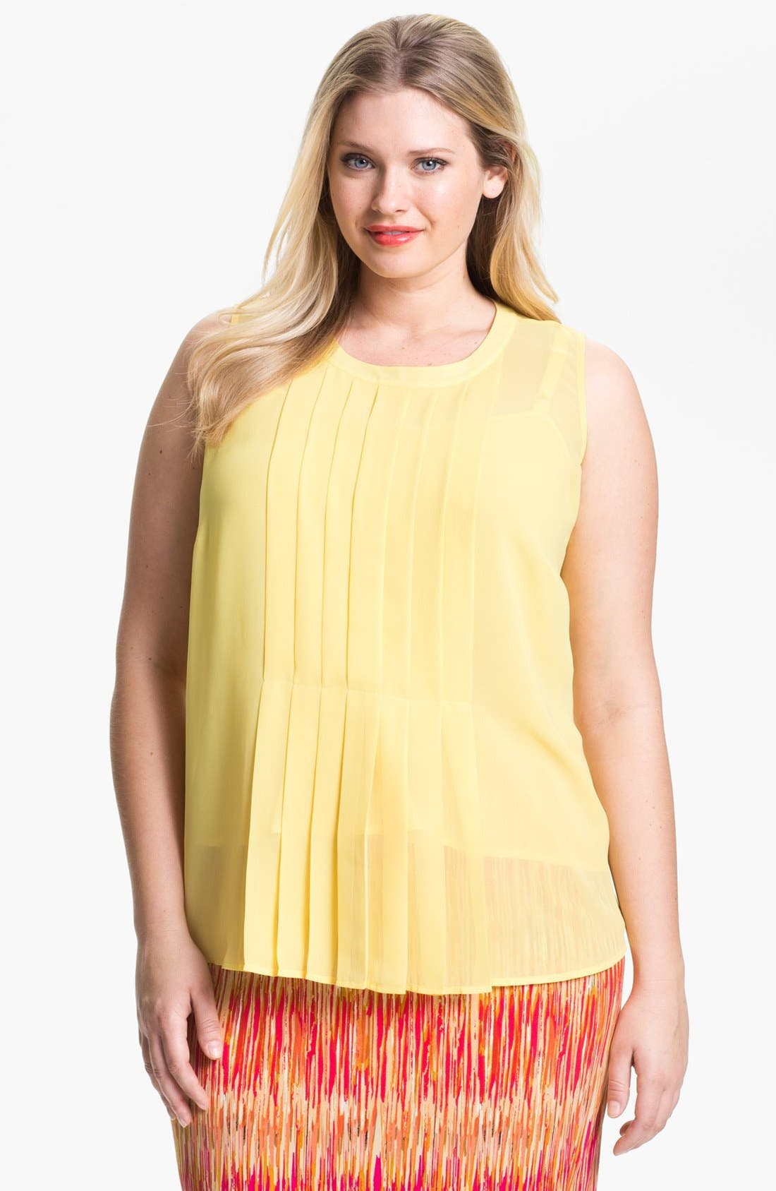 Alternate Image 1 Selected - Vince Camuto Pleat Front Sleeveless Blouse (Plus Size)
