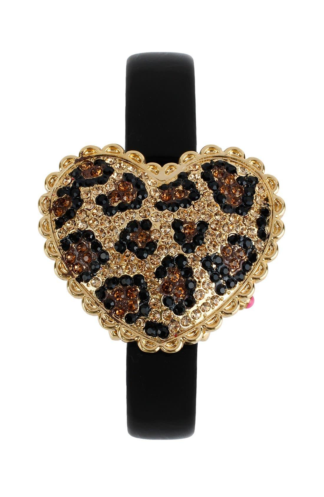 Alternate Image 2  - Betsey Johnson Pavé Heart Swivel Case Watch, 40mm X 35mm