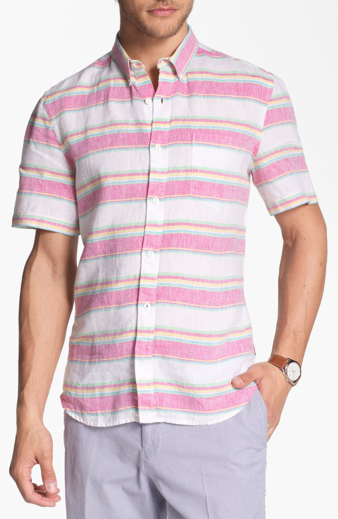 Alternate Image 1 Selected - French Connection Short Sleeve Linen Sport Shirt