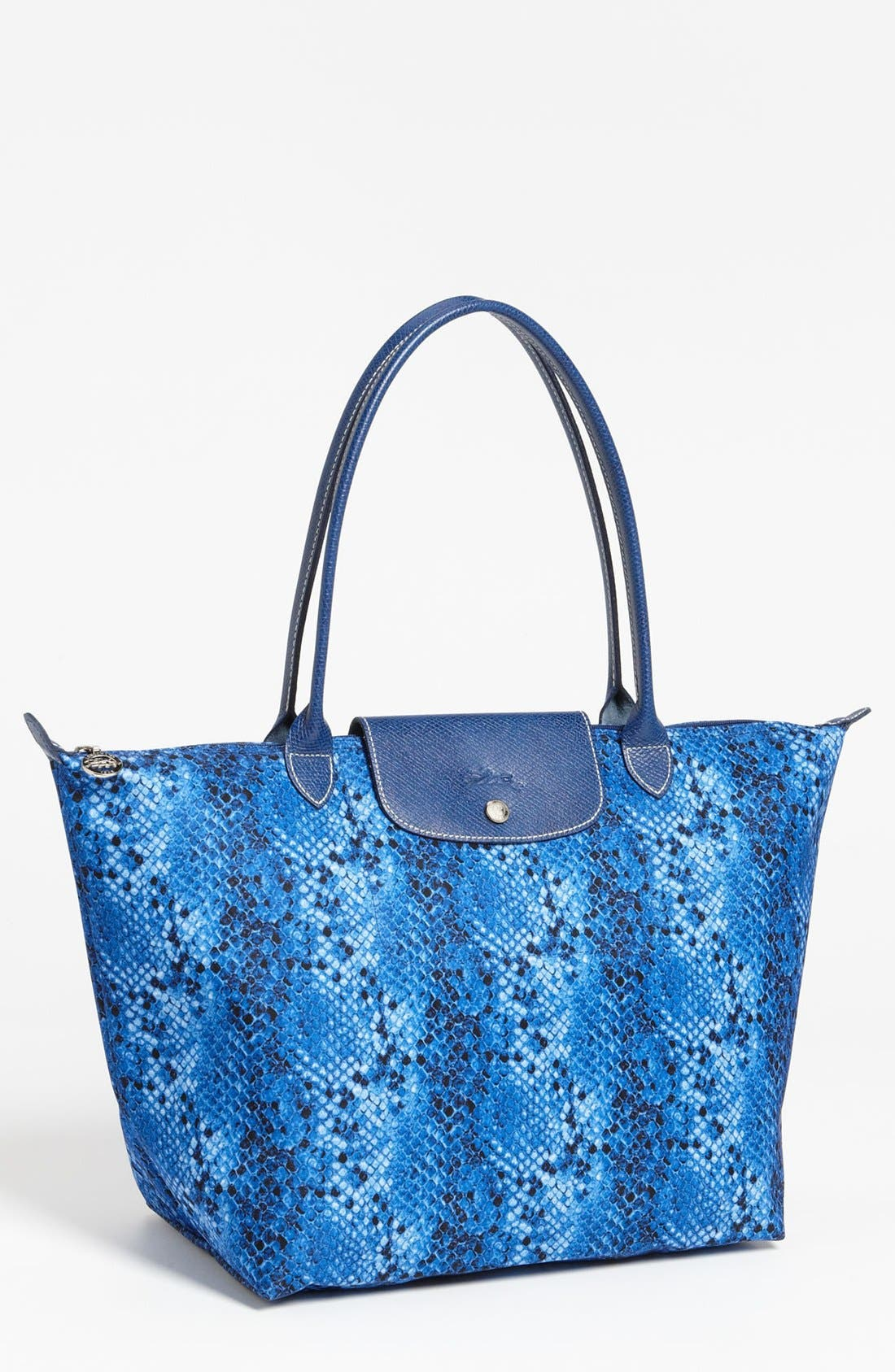 Main Image - Longchamp 'Le Pliage - Large' Python Print Shoulder Tote