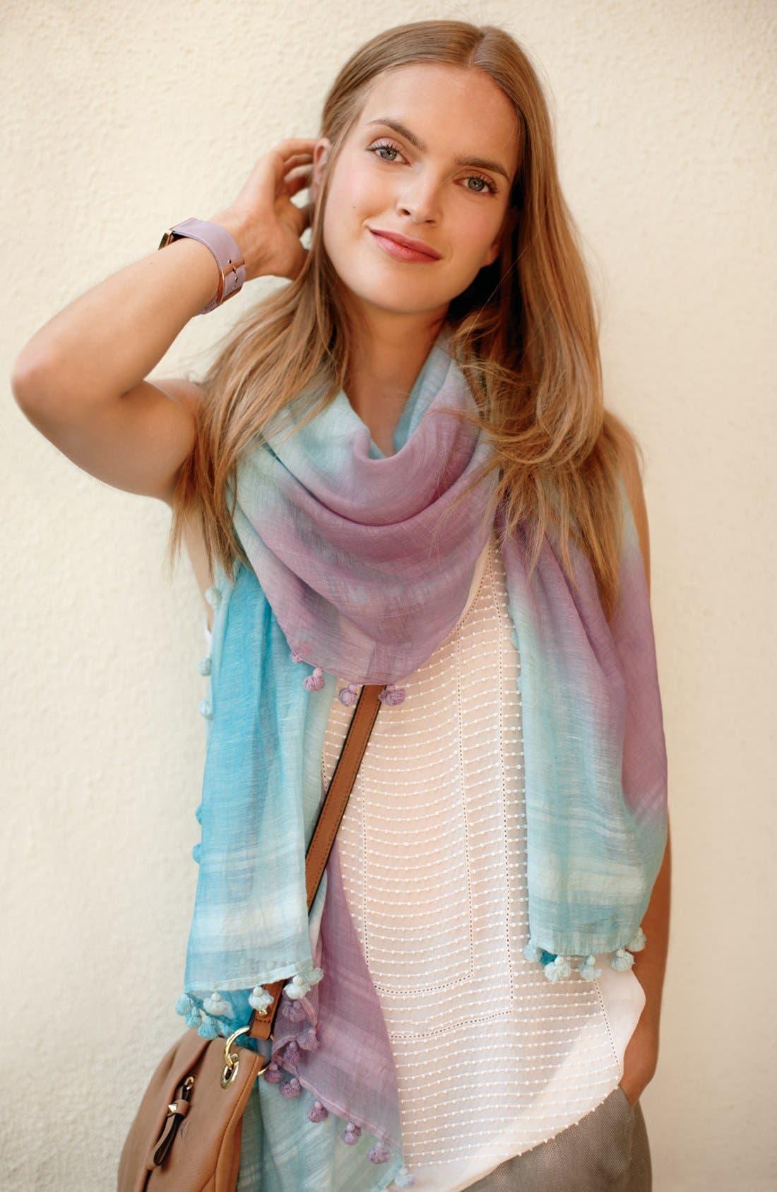 Alternate Image 4  - La Fiorentina Striped Ombré Cotton & Silk Scarf