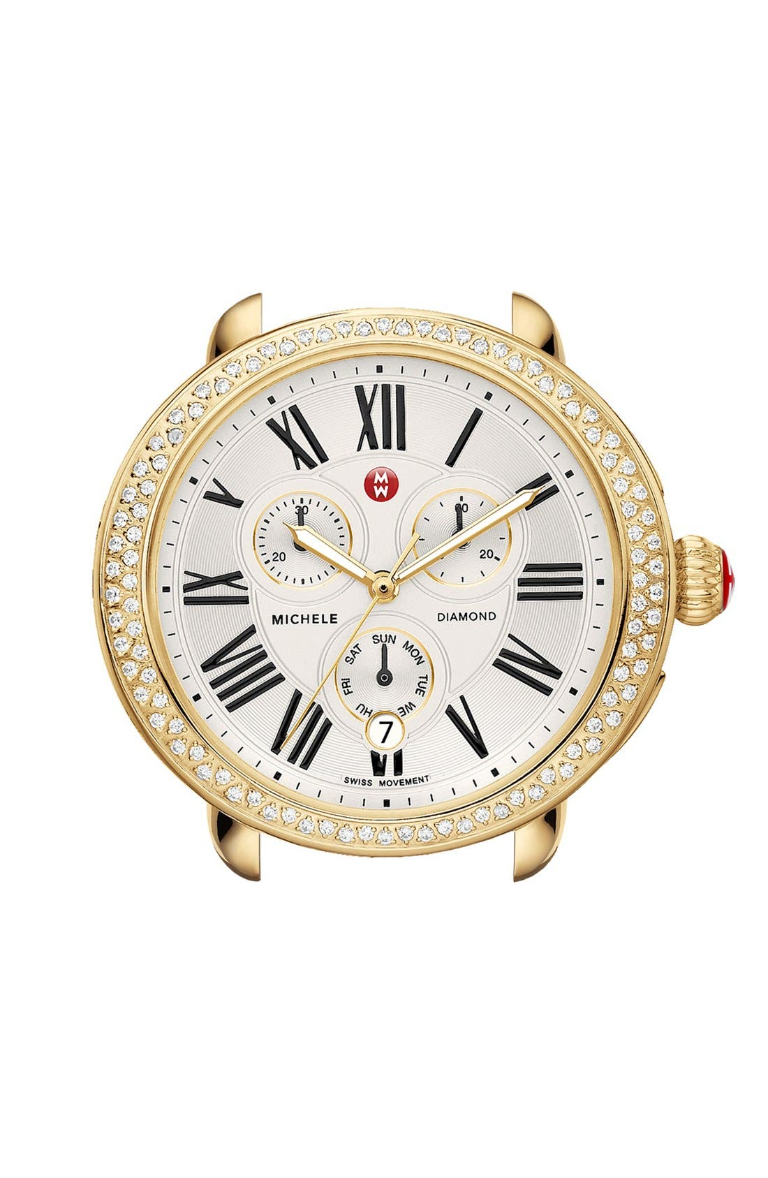 Alternate Image 1 Selected - MICHELE Serein Diamond Gold Plated Watch Case, 40mm x 38mm