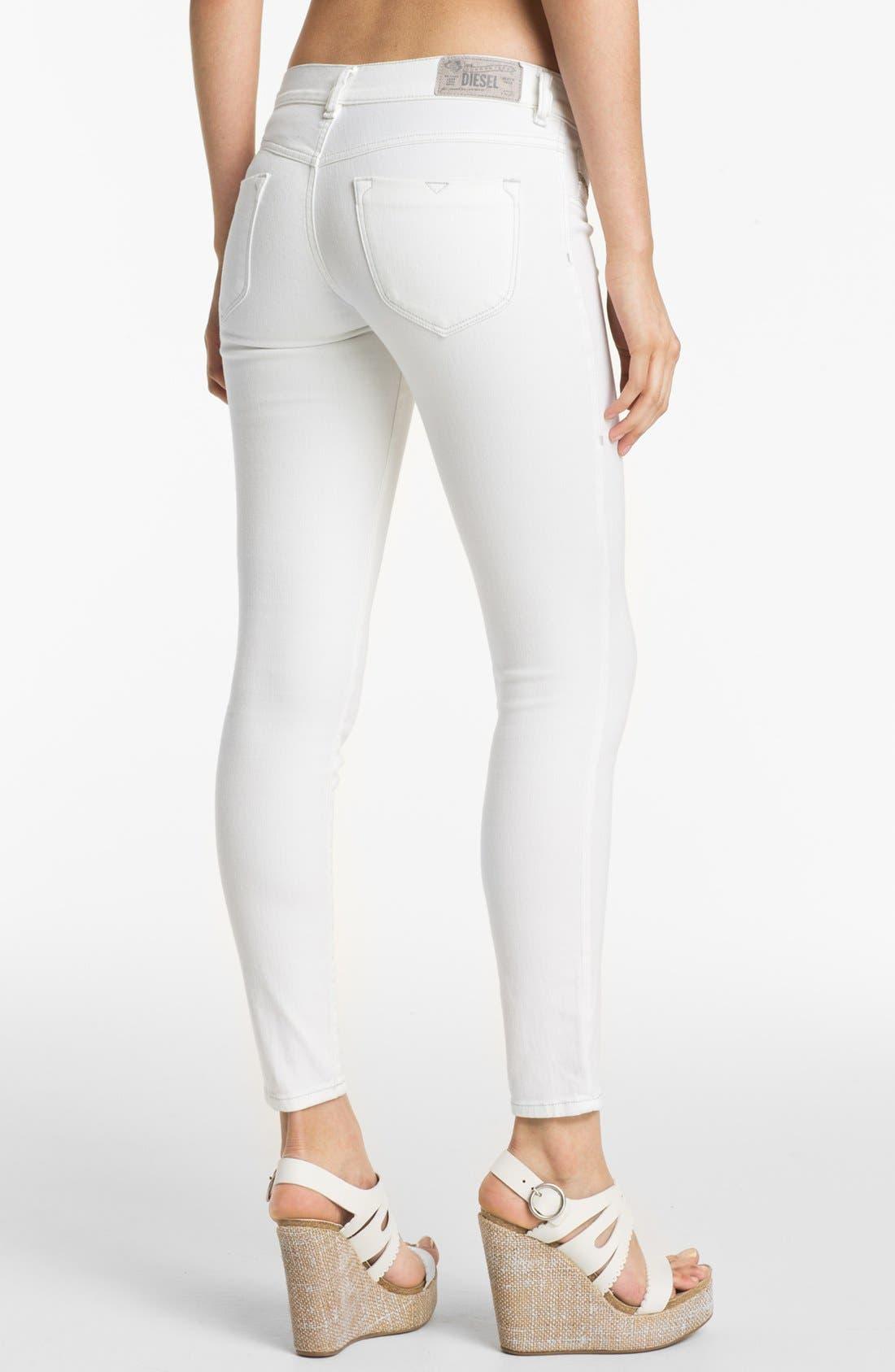 Alternate Image 2  - DIESEL® 'Livier' Ankle Skinny Jeans (White)